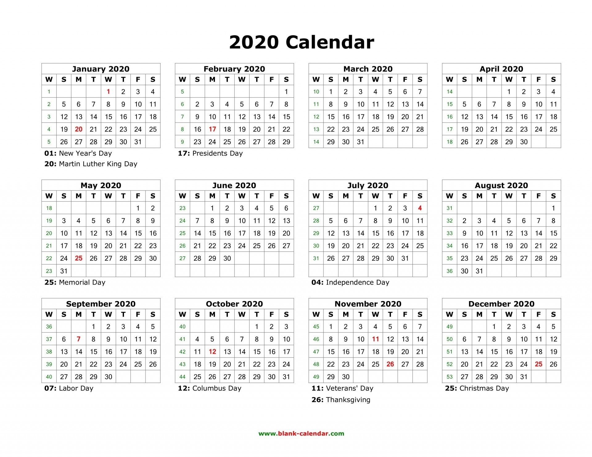 002 Printable Word Yearly Calendar Holidays Blank Top 2020-2020 Calendar With Holidays South Africa