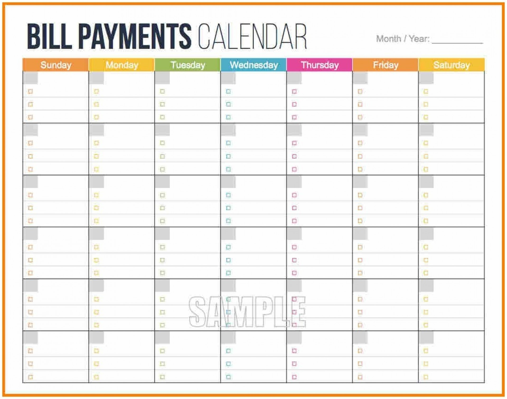 Monthly Payment Calendar Schedule Worksheet   Calendar ...