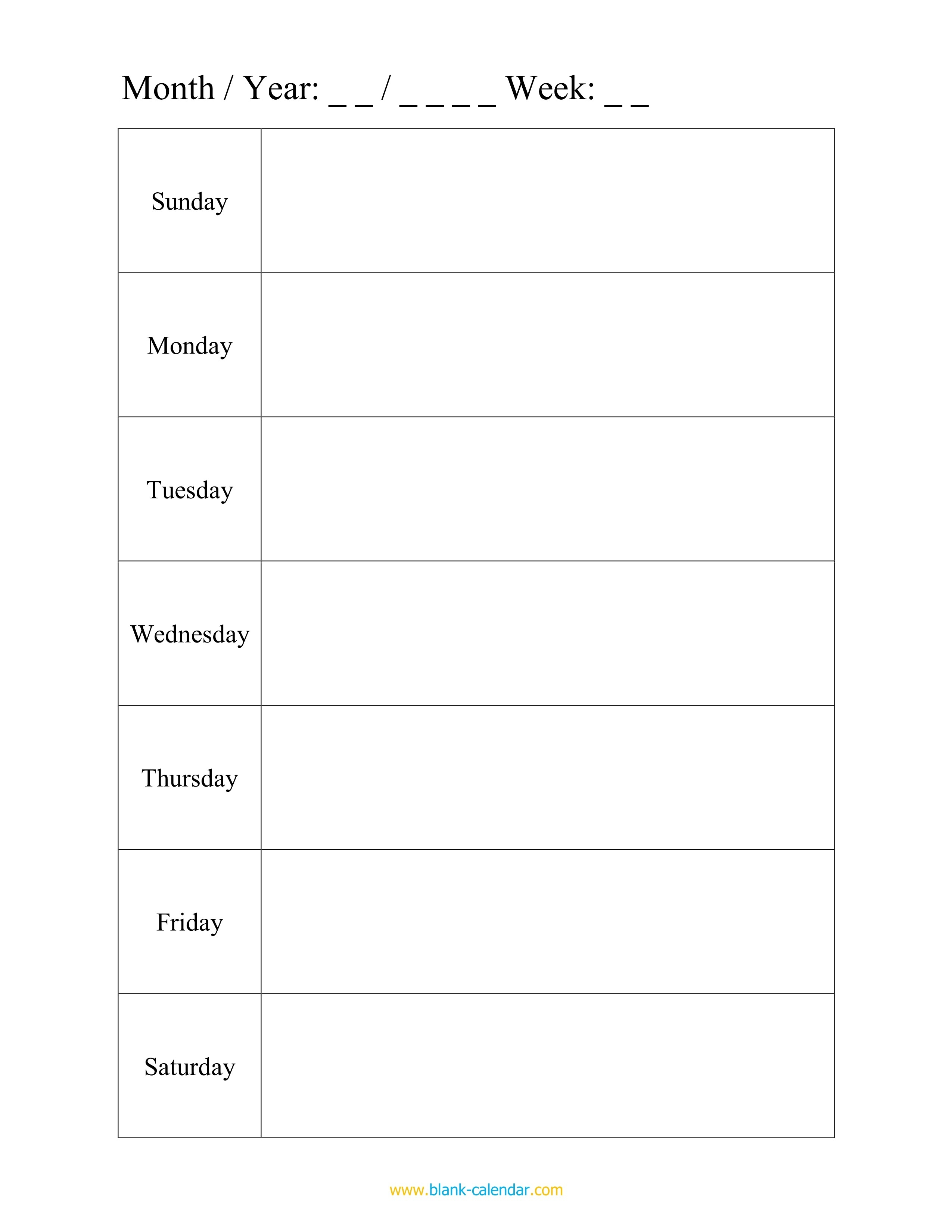 012 Template Ideas 20Weekly Schedule Planner Templates Word-Monday Through Friday Planning Template