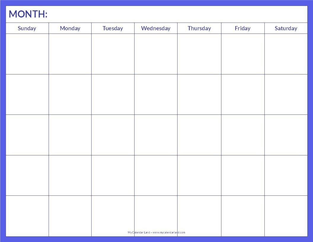 018 Blank Calendar Template Pdf Ideas Free Monthly Printable-Printable Blank Monthly Calendar Template