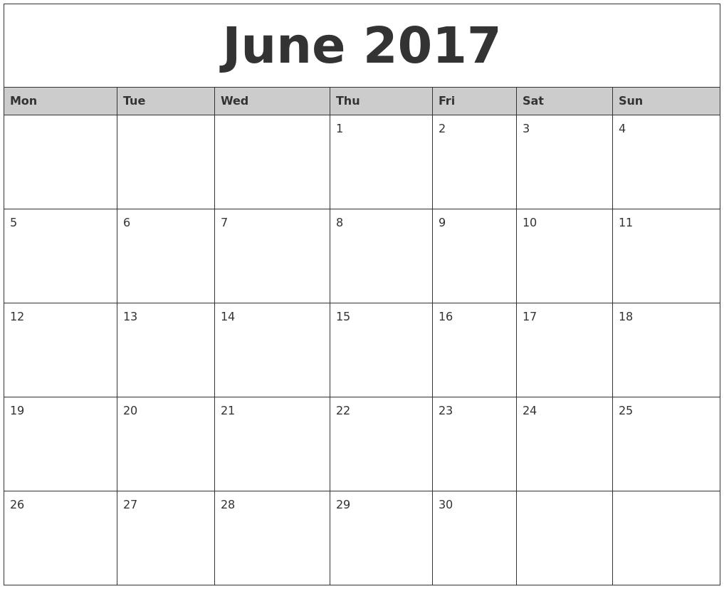 020 June Monthly Calendar Printable Monday Start Template-Calendar Template Monday Start