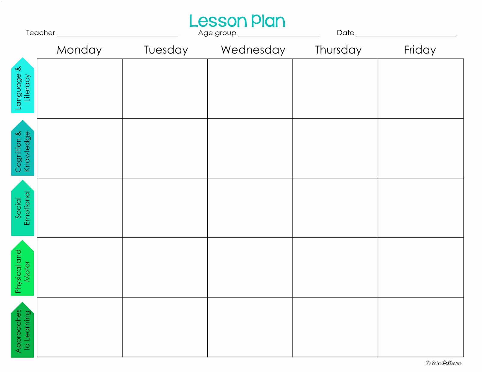 022 Editable Weekly Lesson Plan Template Infant Templates-Weekly Lesson Plan Blank Template
