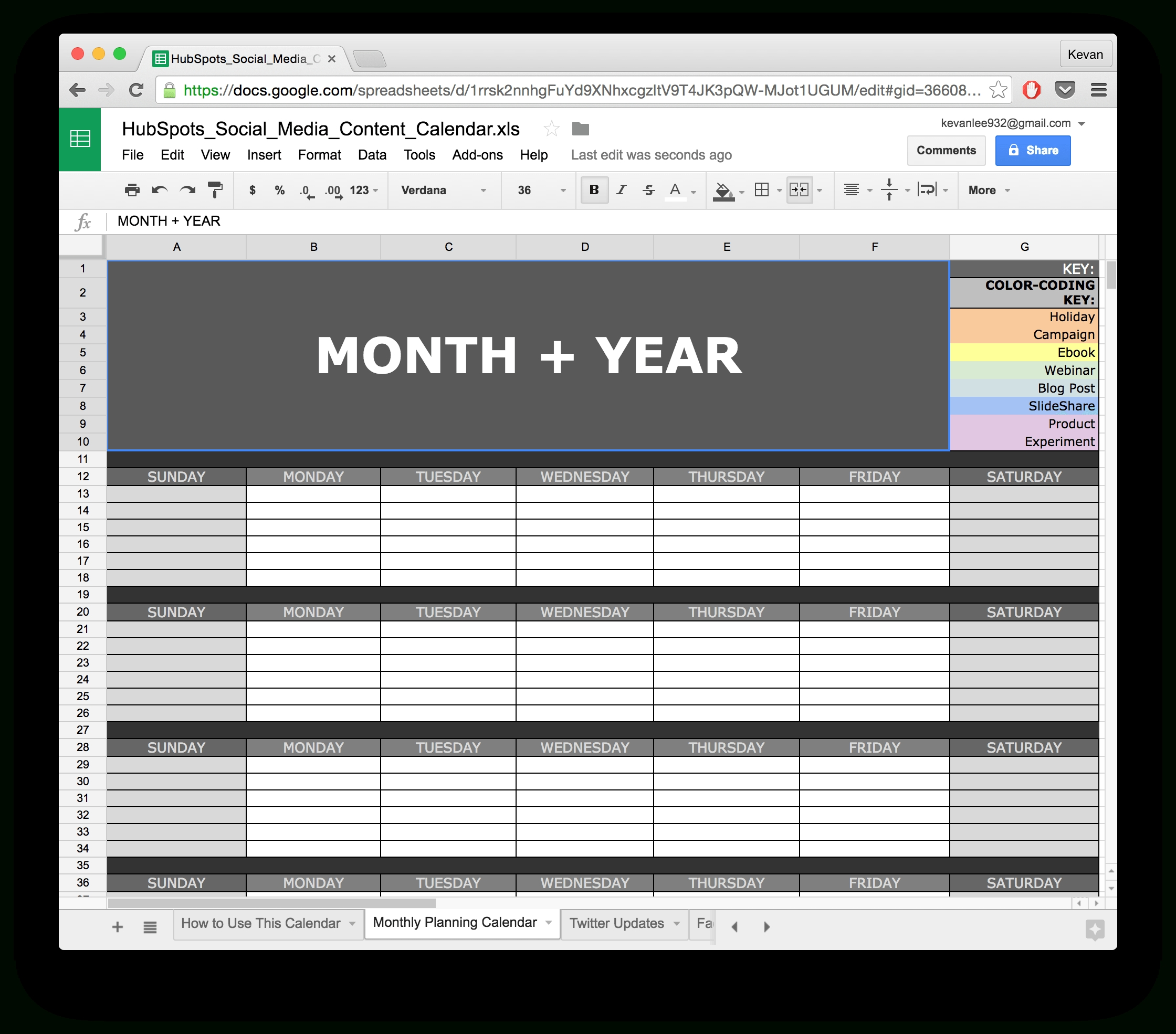 10 Ready-To-Go Marketing Spreadsheets To Boost Your-Calendar Template Google Sheets