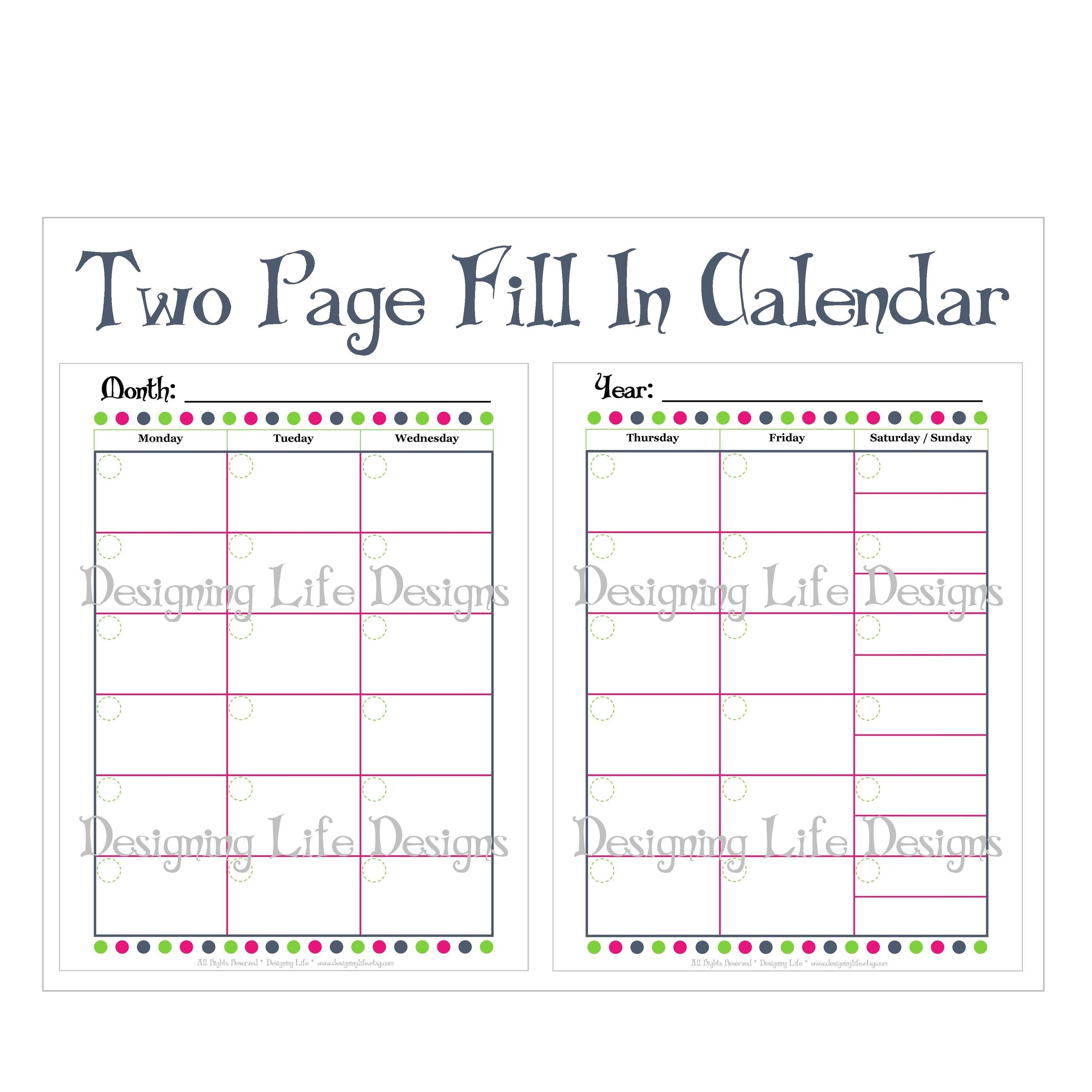 12 Images Of Two-Page Monthly Calendar Template Blank-Blank Monthly Calendar Template 2 Page
