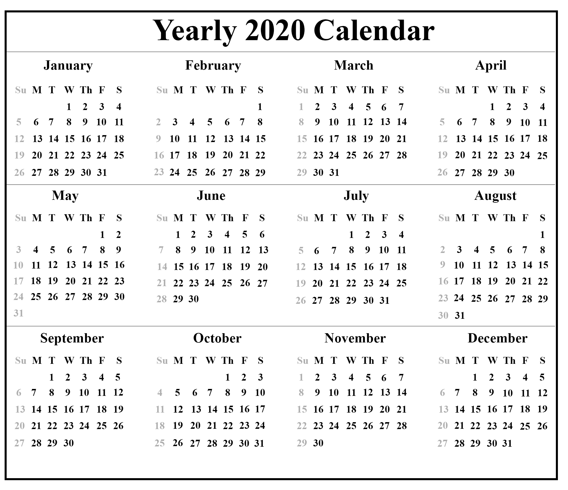 12 Month 2020 Printable Calendar Template One Page-Blank W 9 2020
