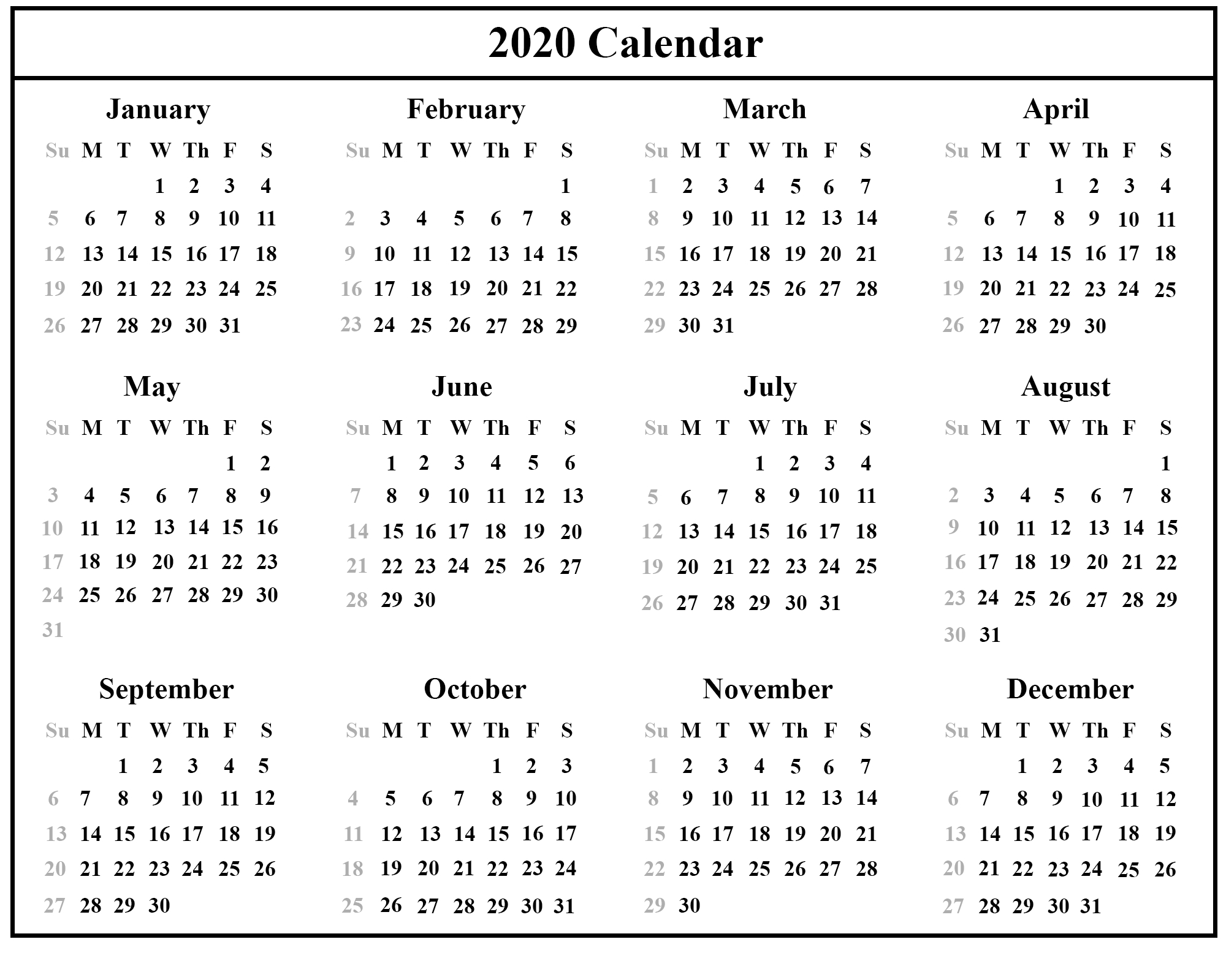 12 Month 2020 Printable Calendar Template With Holidays-Blank W 9 2020