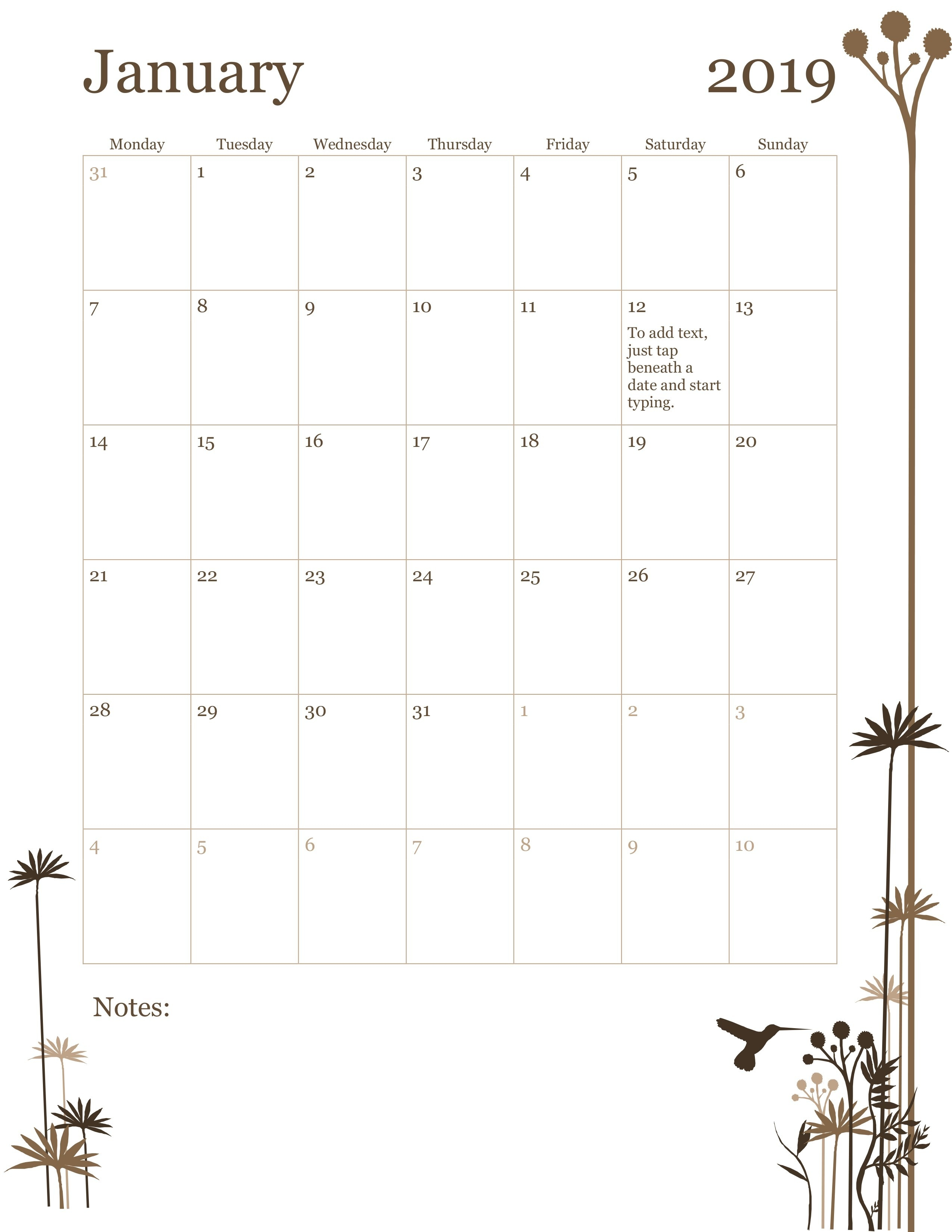 12-Month Calendar (Mon-Sun)-Monday To Friday Monthly Calendar Template
