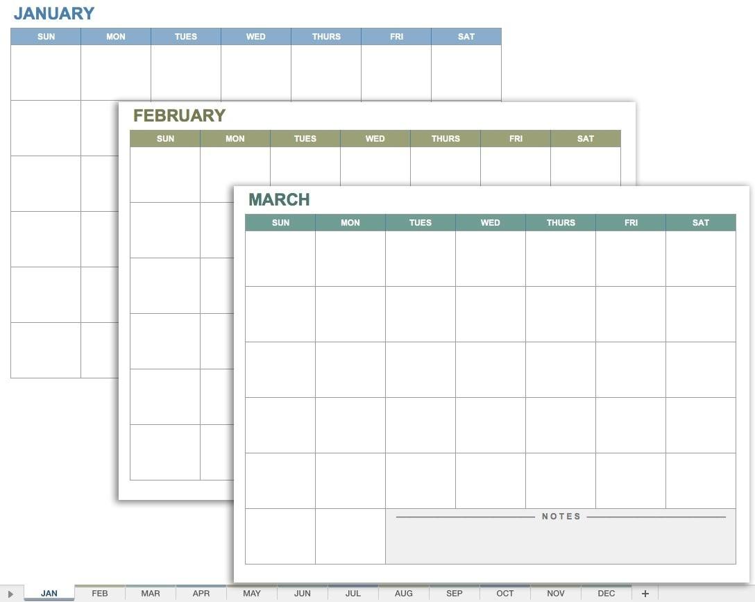 15 Free Monthly Calendar Templates | Smartsheet-Monthly Calandar Template Start From Sunday