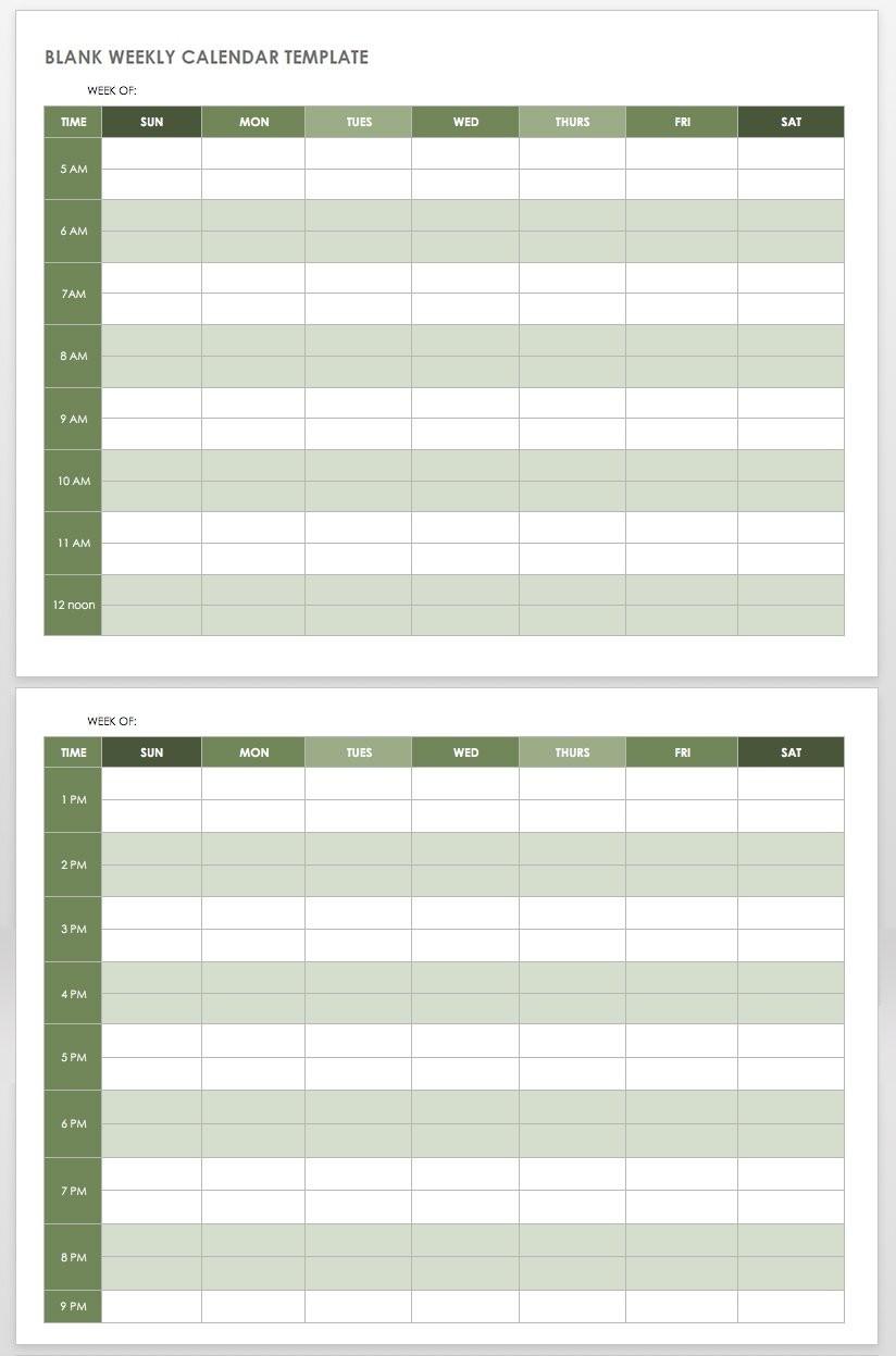 15 Free Weekly Calendar Templates | Smartsheet-Blank 6 Week Calendar Template