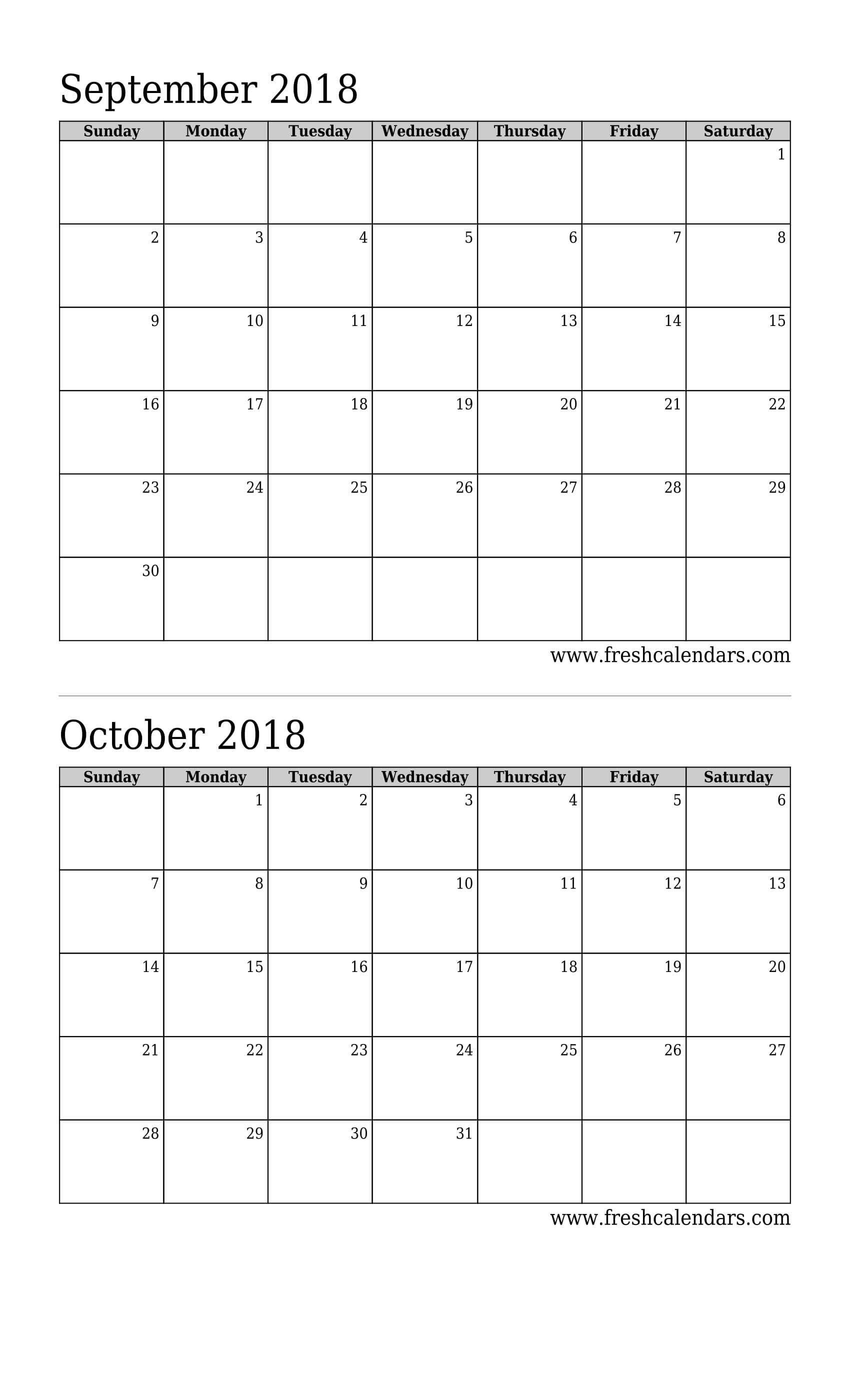 2 Month Calendar August September 2019 • Printable Blank-2 Month Calendar Template Printable