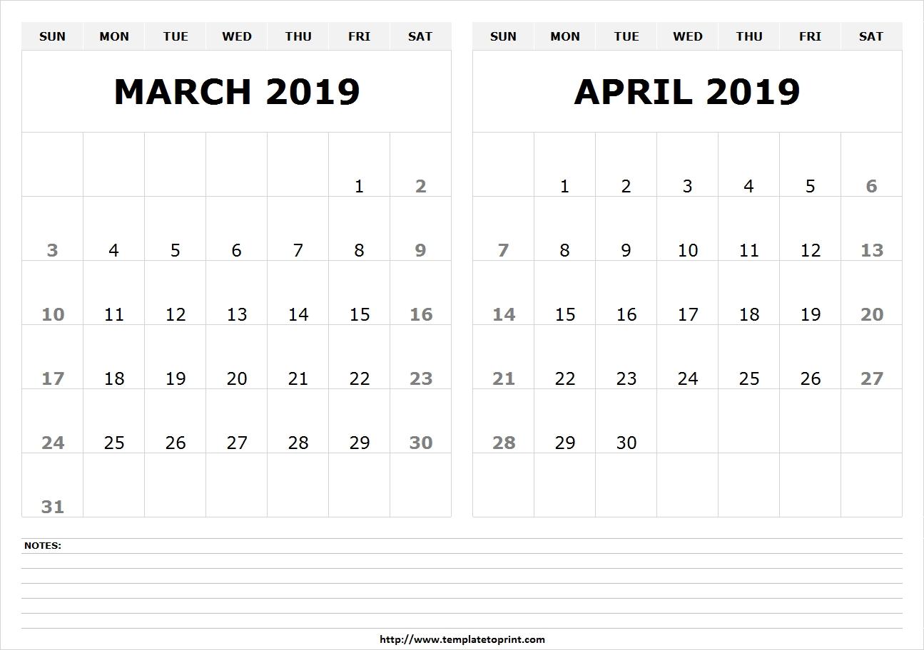 2 Month March April 2019 Calendar | Free March 2019 Calendar-2 Month Calendar Template Printable