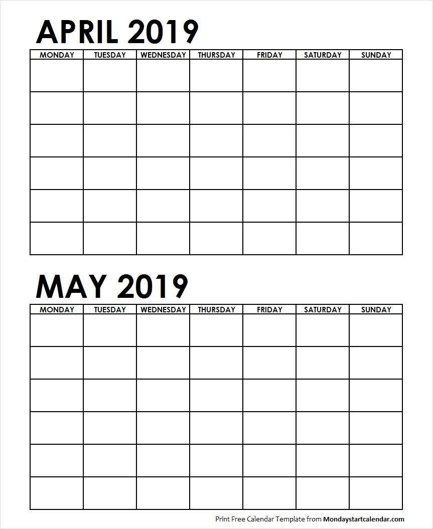 2 Month Printable Calendar April May 2019 | Calendar Design-2 Month Calendar Template Printable