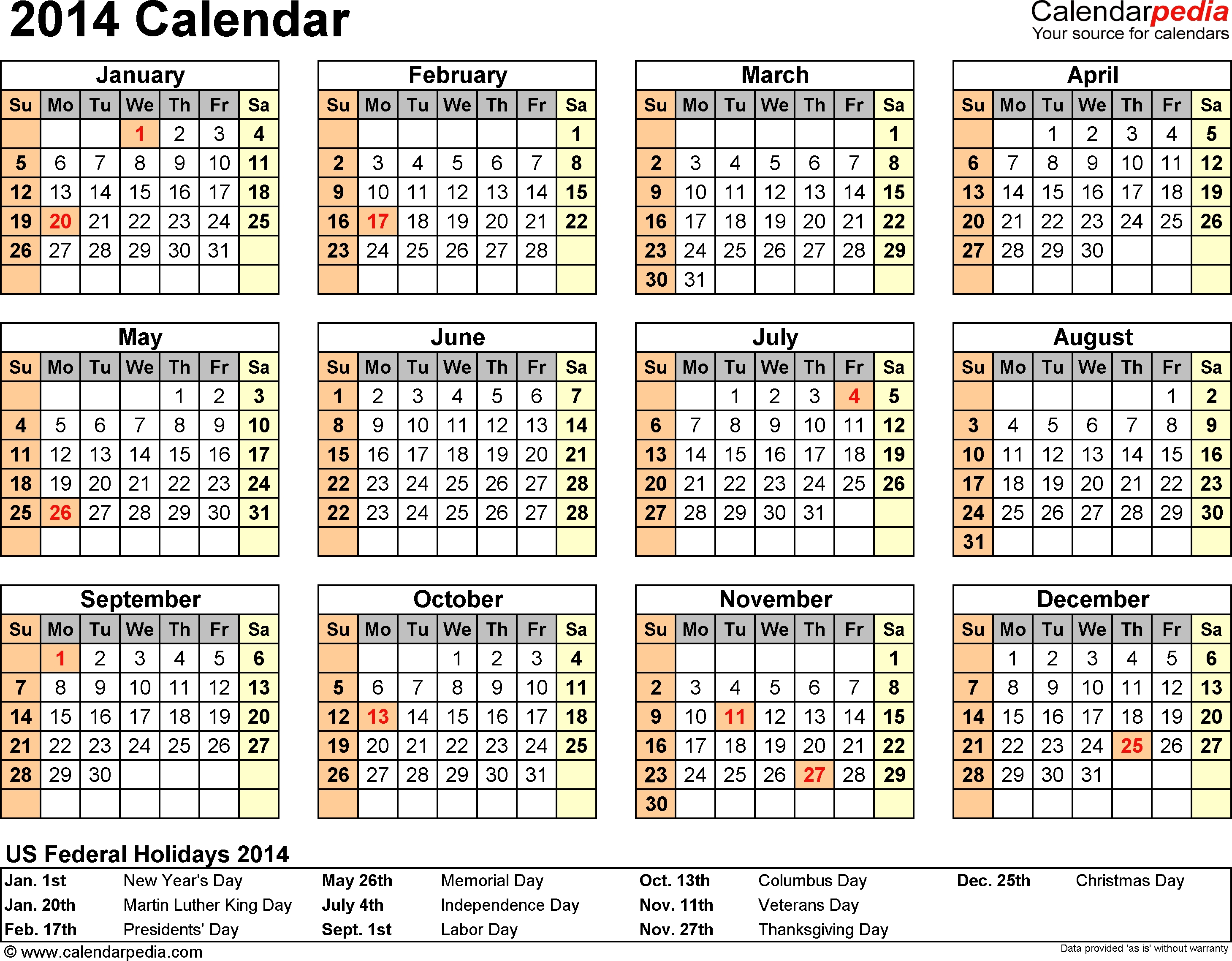 2014 Calendar With Federal Holidays & Excel/pdf/word Templates-Sa Calendar With Holidays
