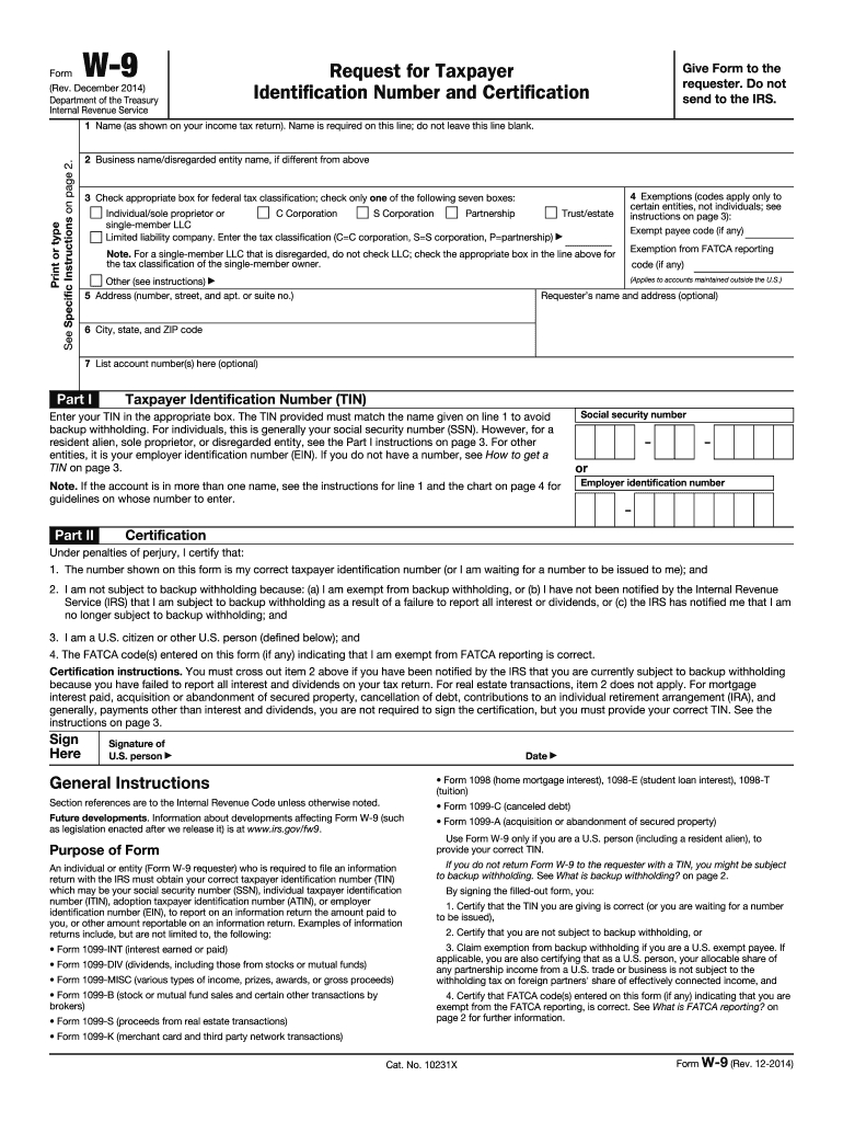 2014 Form Irs W-9 Fill Online, Printable, Fillable, Blank-Print Blank W9 Form