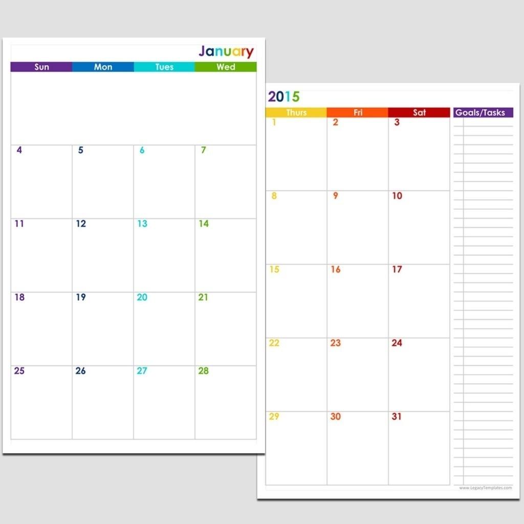 2015 12-Month 2 Page Calendar – Half Size | Legacy Templates-Blank Monthly Calendar Template 2 Page