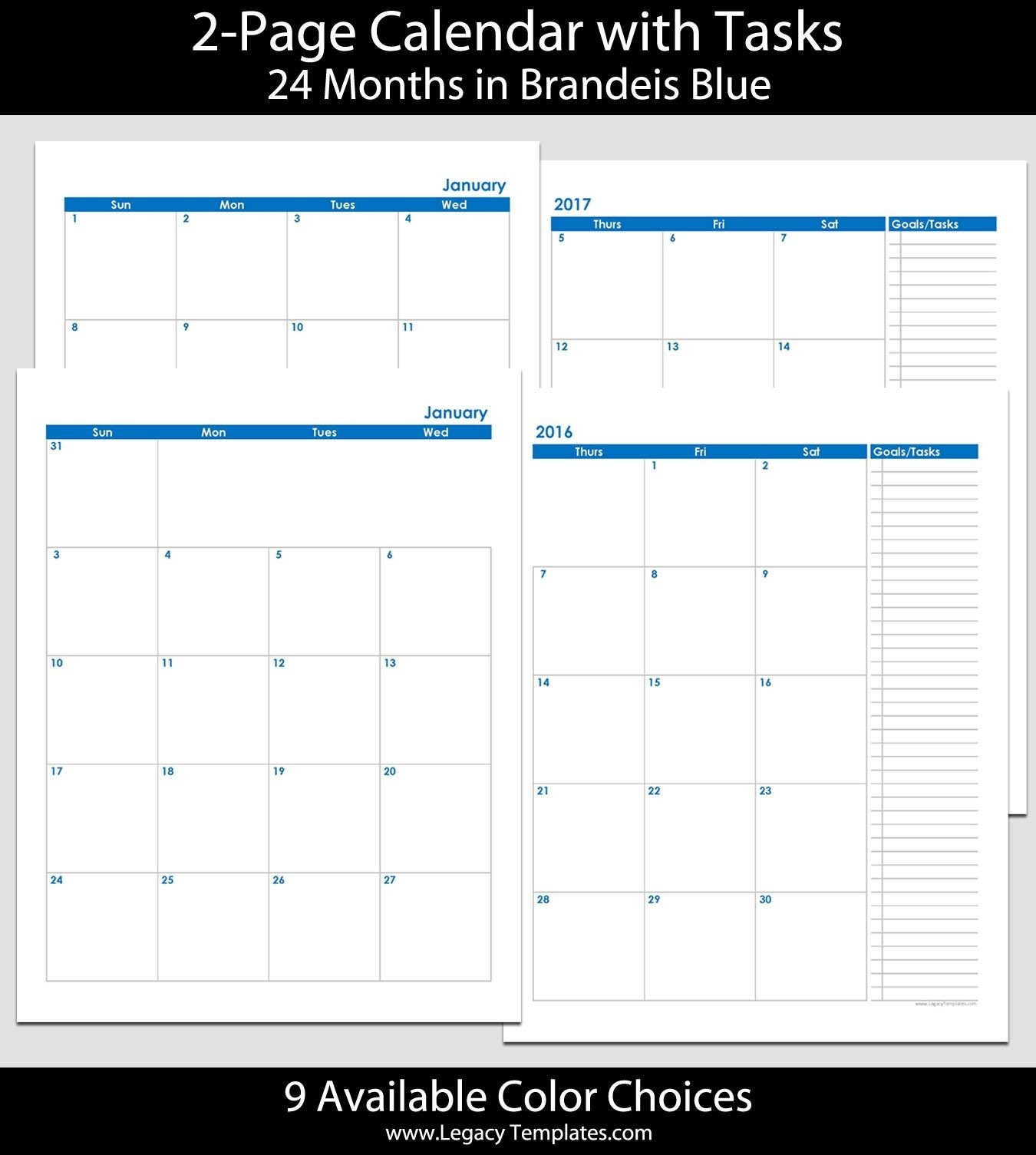 2016 & 2017 24-Month 2-Page Calendar – 8 1/2″ X 11″ | 2016-Blank Monthly Calendar Template 2 Page