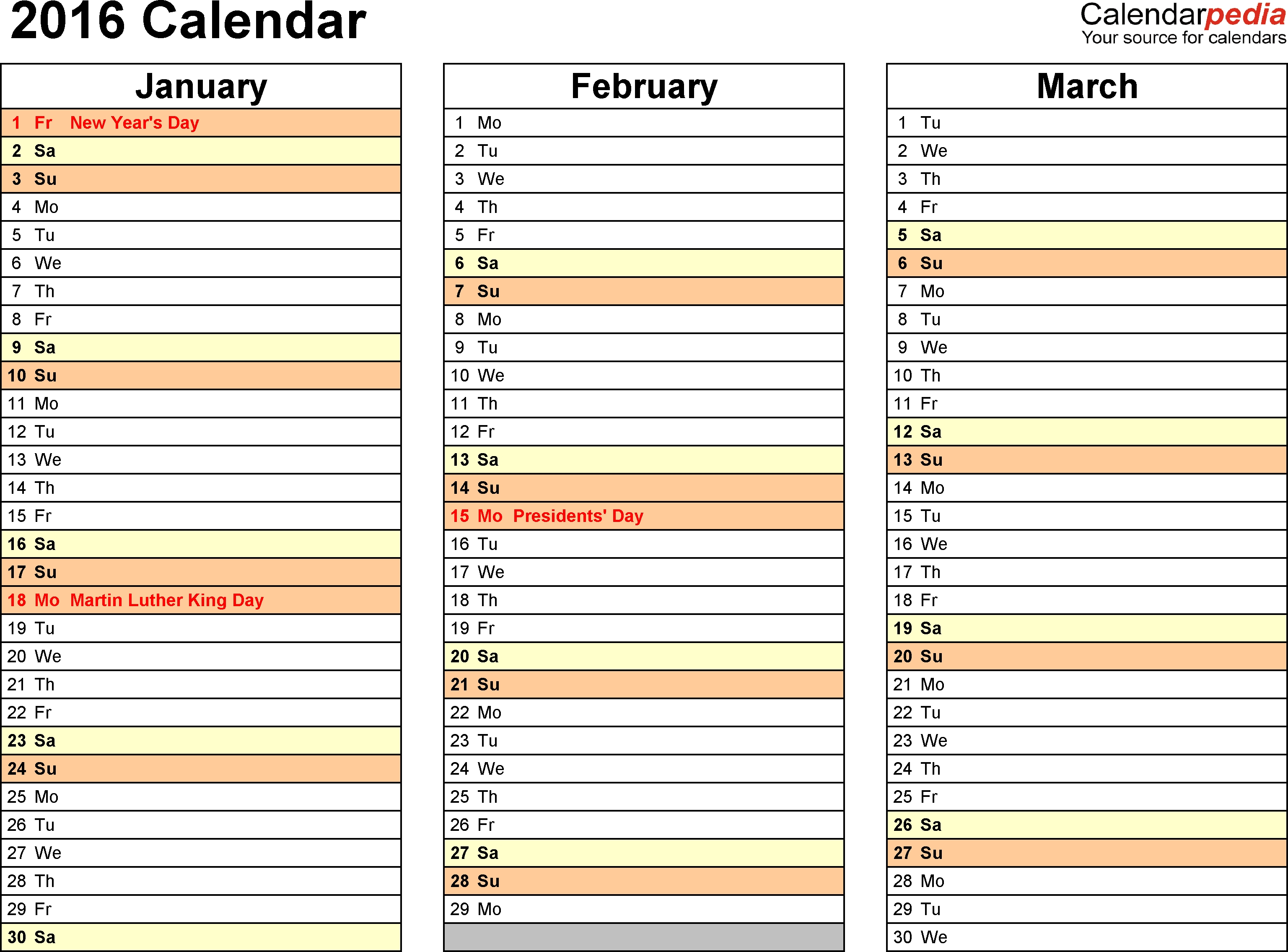 2016 Calendar - Download 16 Free Printable Excel Templates-4 Month Planner Template