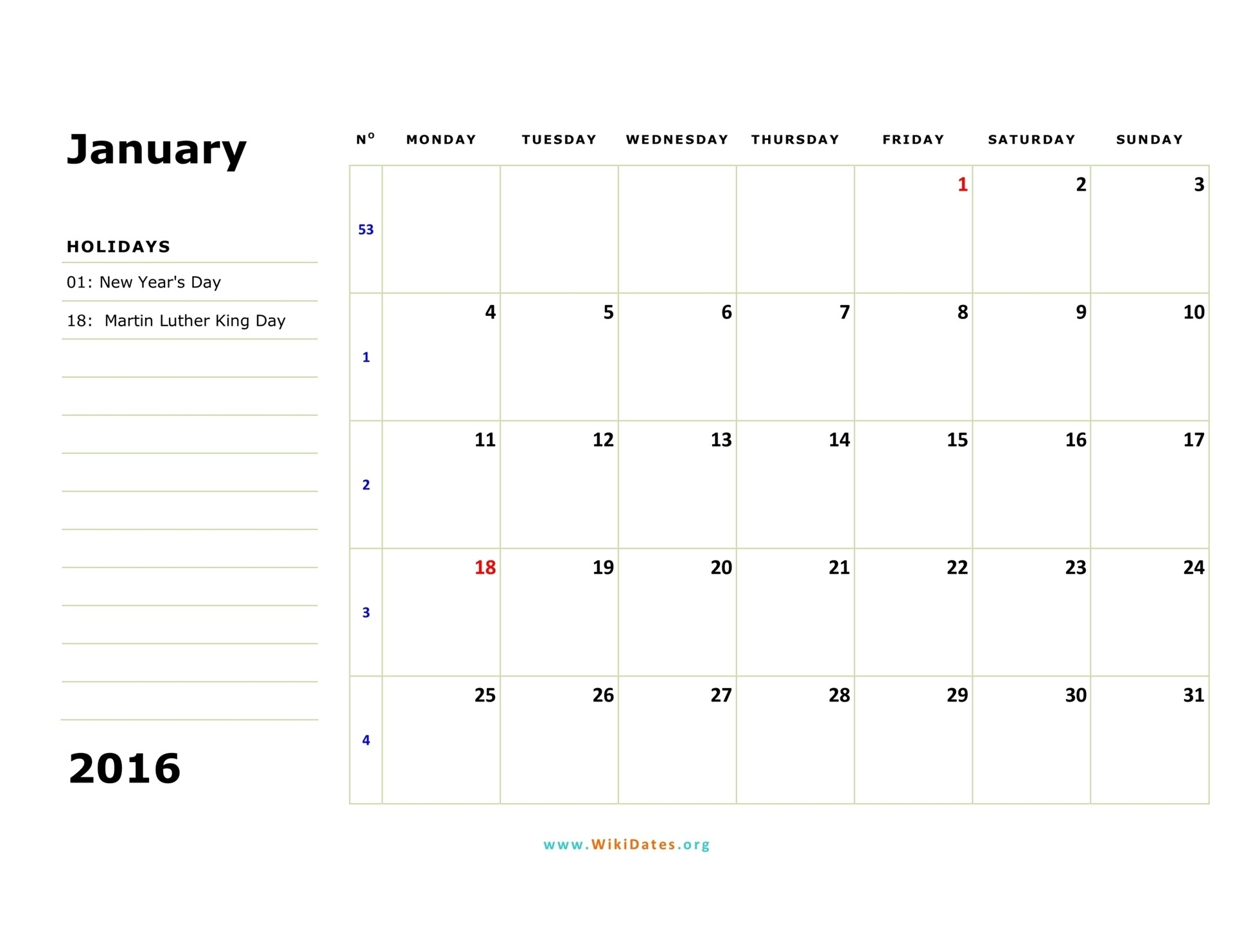 2016 Monthly Calendar Starts On A Monday | Calendar Template-Monthly Calendar Starts On Monday