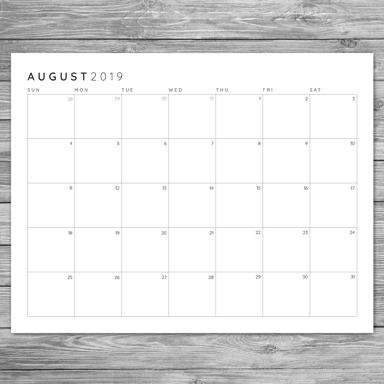 2017 2018 2019 Printable Minimalist Monthly Grid Calendar-8.5 By 11 Blank Calendar Month
