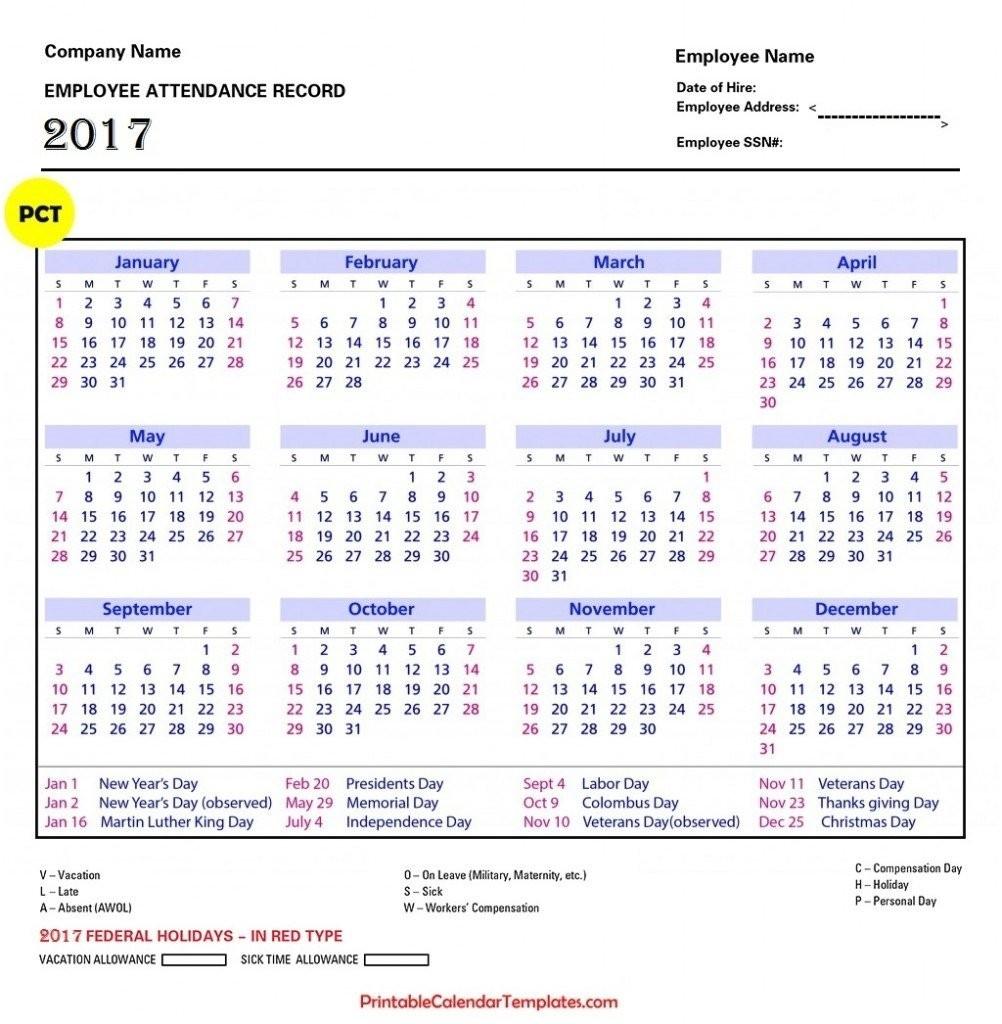 2017 Attendance Calendar To Download Or Print-2020 Absentee Calendar Template