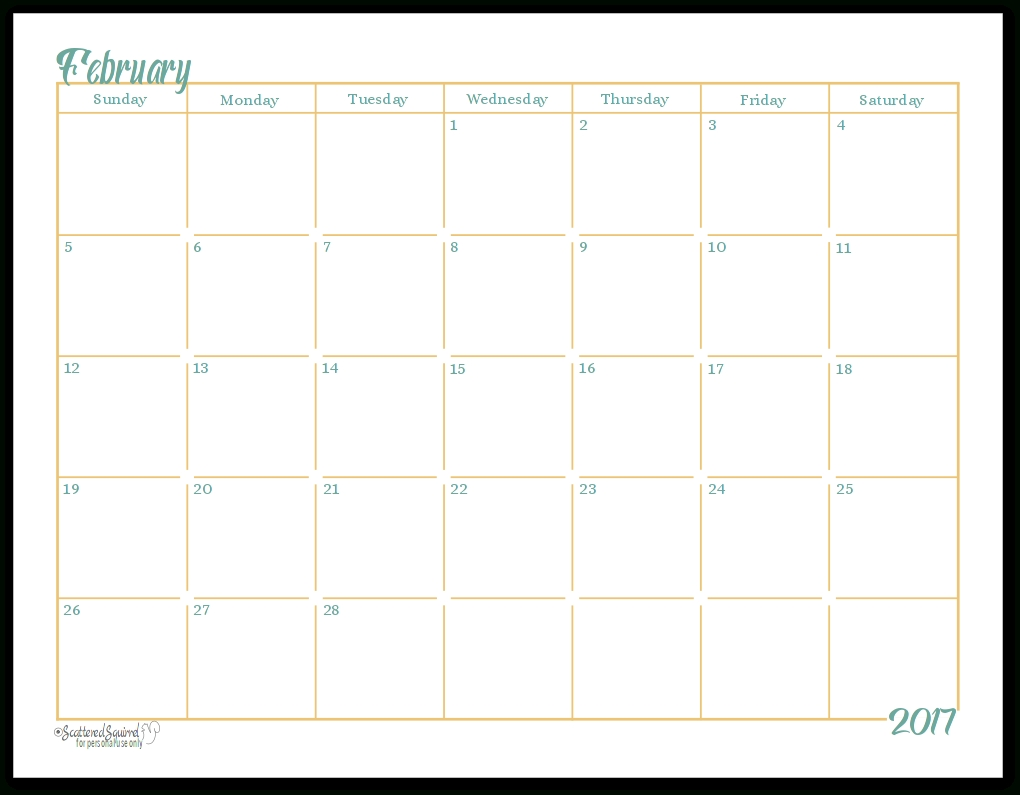 2017 Full-Size Monthly Calendar Printables Are Here!!!!!-Scattered Squirrel Monthly Calendar