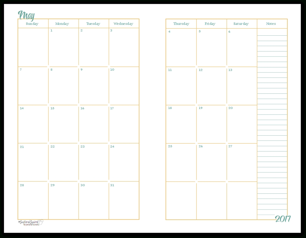 2017 Half-Size Monthly Calendar Printables | Planners-2 Page Monthly Calendar Template Printable