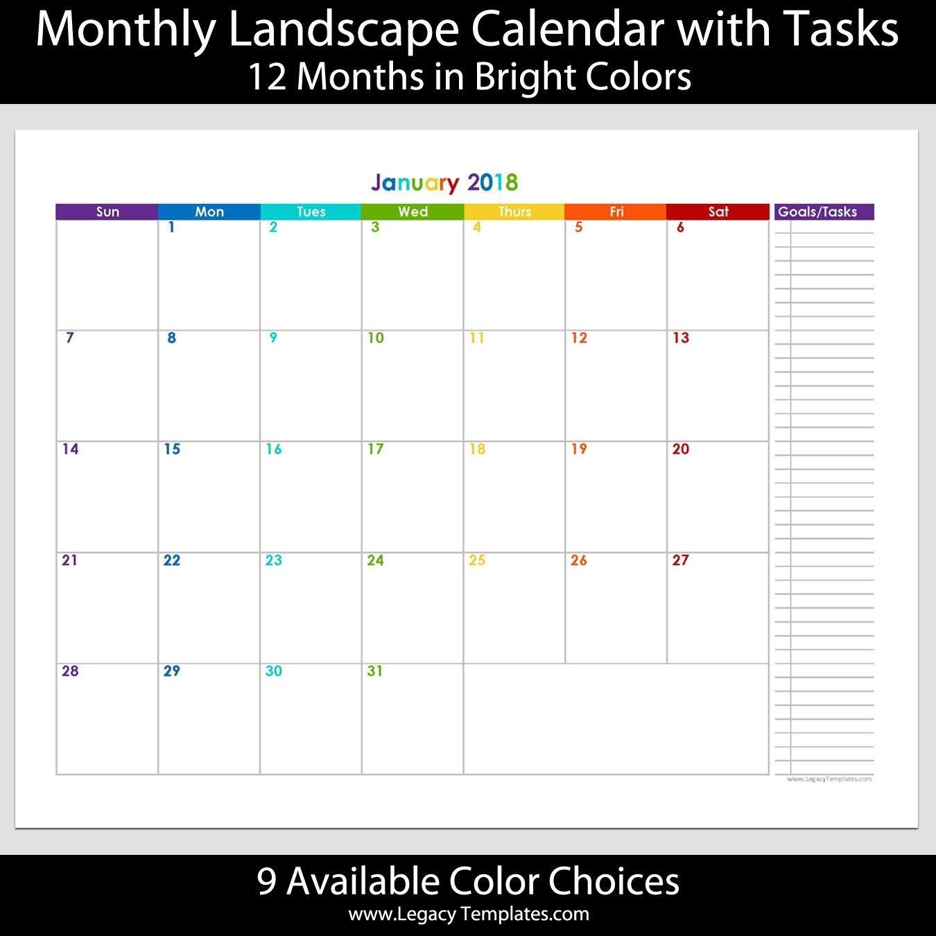 2018 - 12 Month Calendar With Tasks - Printable Calendars-5X8 Calendar Templates To Print