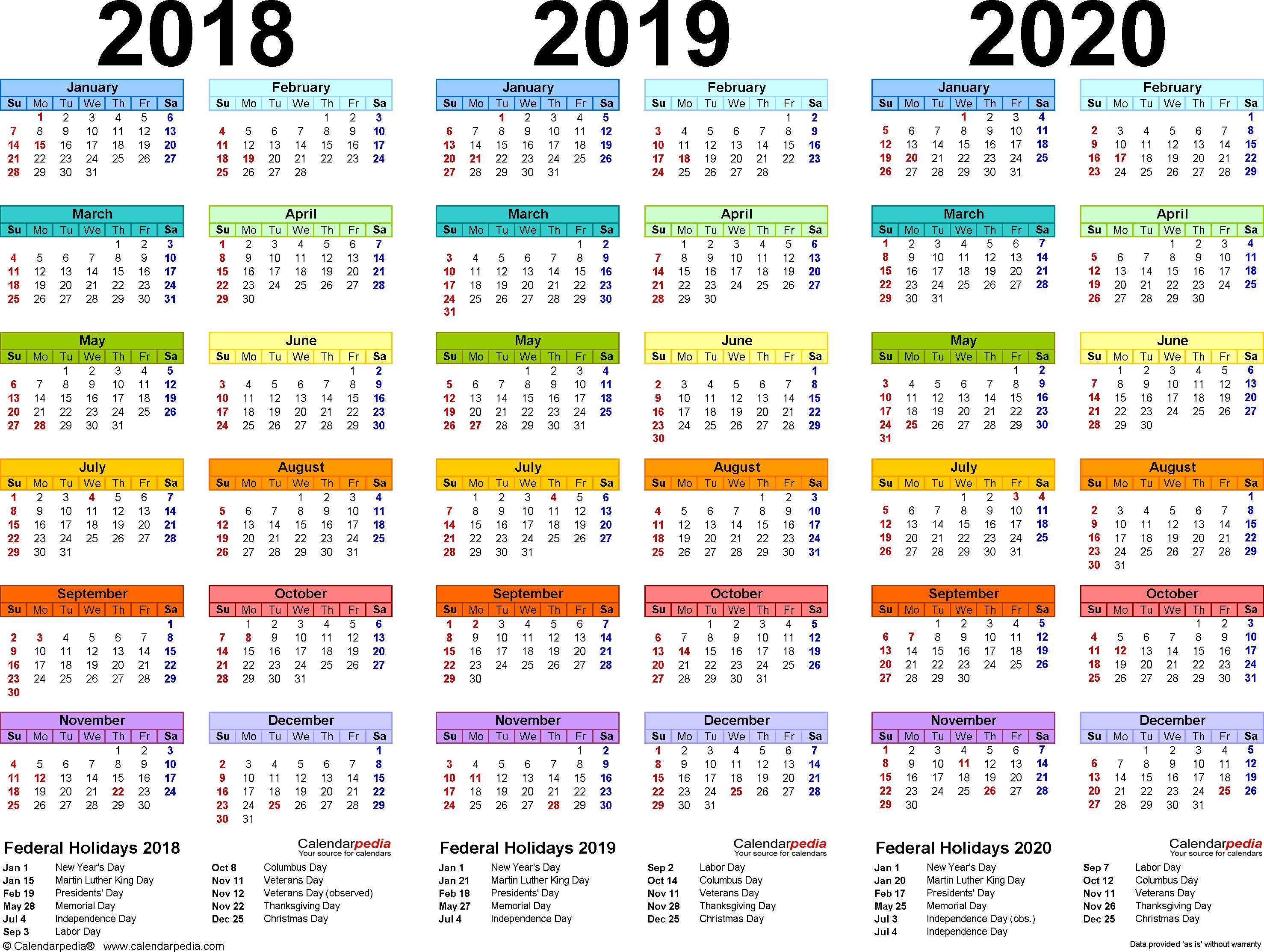 2018/2019/2020 Calendar - 4 Three-Year Printable Word Calendars-January 2020 Calendar South Africa