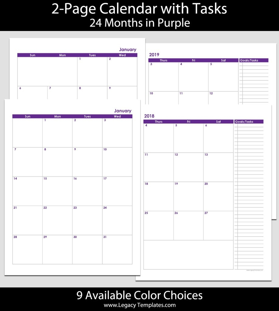 2018 & 2019 24-Month 2-Page Calendar – 8 1/2″ X 11″   Legacy-Printable 2 Page Monthly Calendar Template