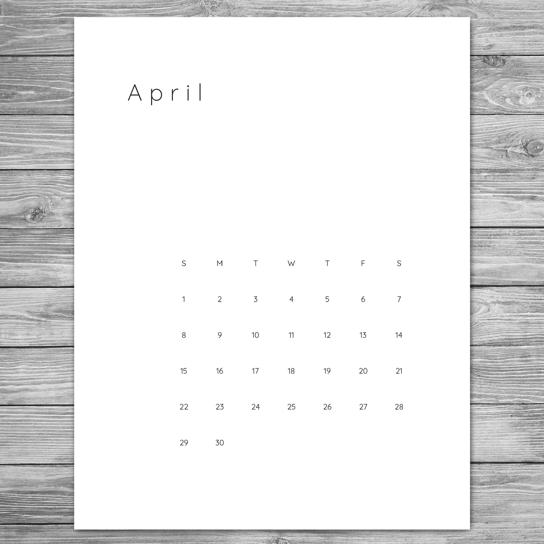 2018 2019 Printable Minimalist Monthly Calendar, Desk-8.5 By 11 Blank Calendar Month