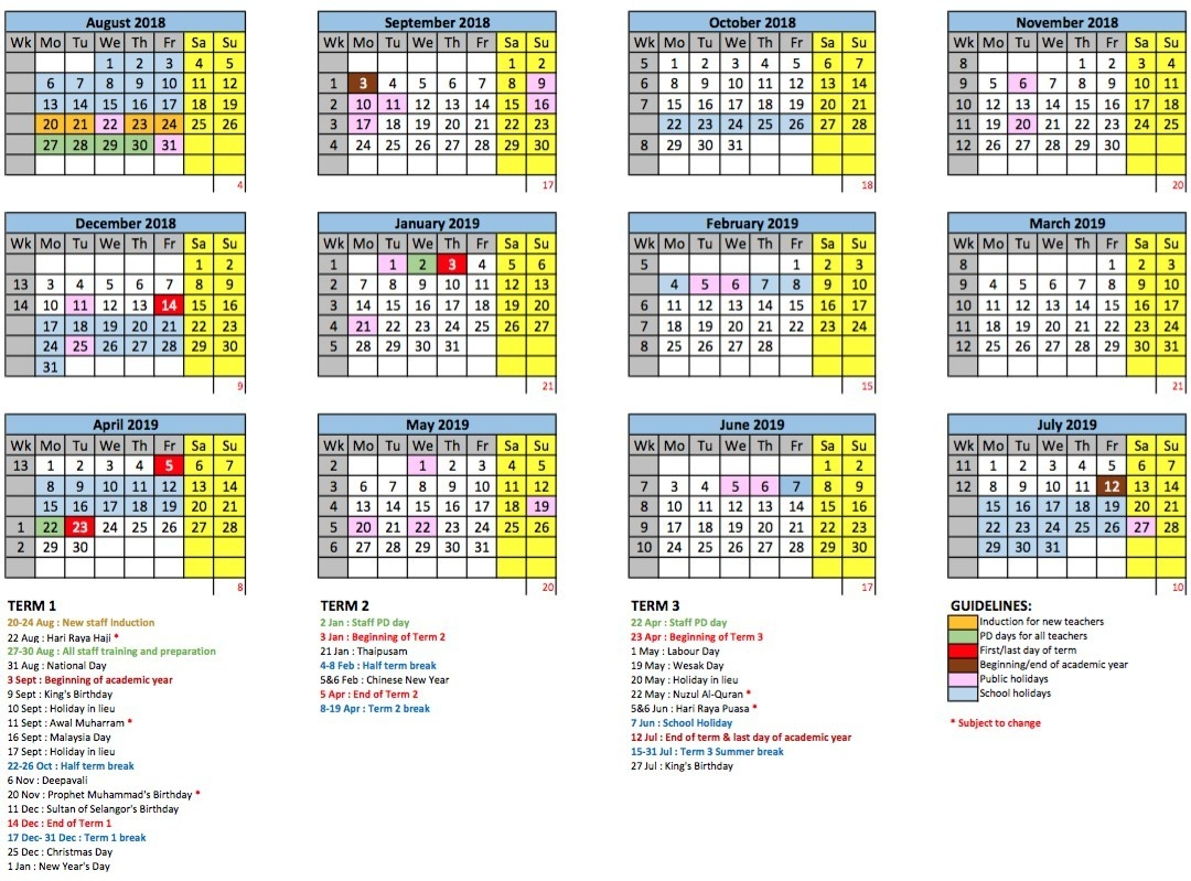 2018/2019 School Calendar - Gems International School Metropark-Is All International School On Malaysia Have The Same School Holidays For 2020