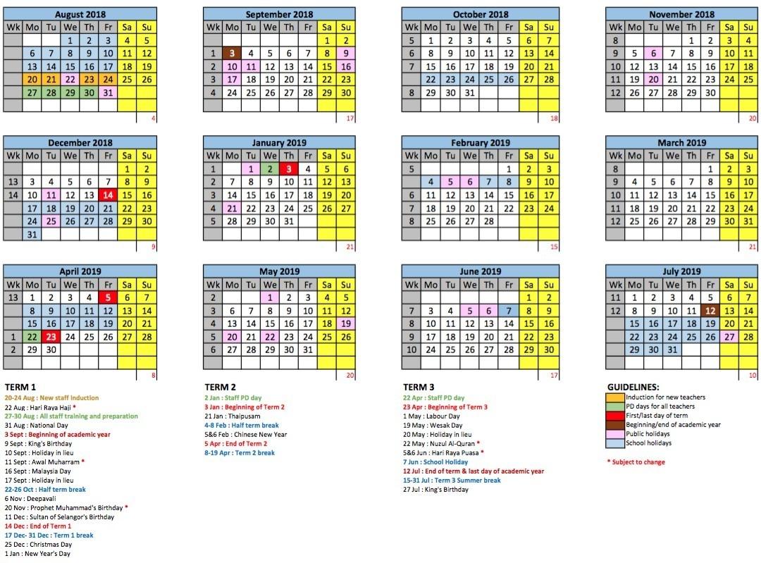 2018/2019 School Calendar - Gems International School Metropark-School Holidays 2020 Malaysia