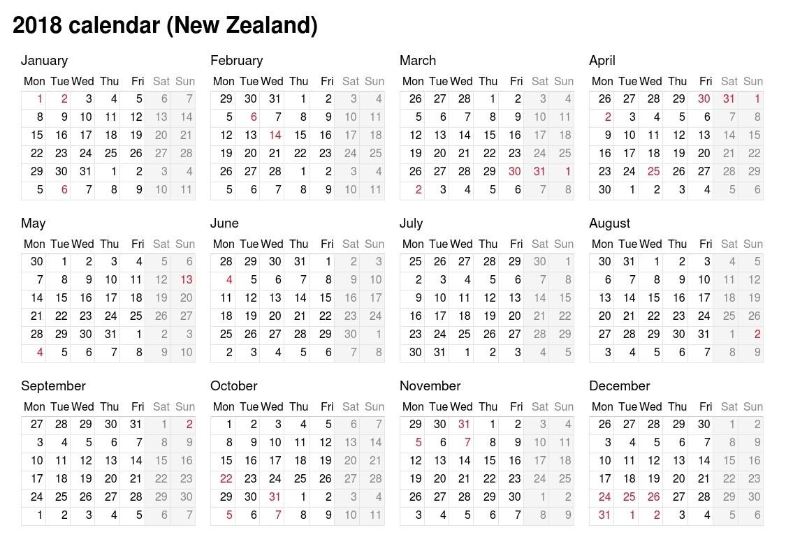 2018 Calendar - New Zealand-Six Monthly New Zealand Calendars