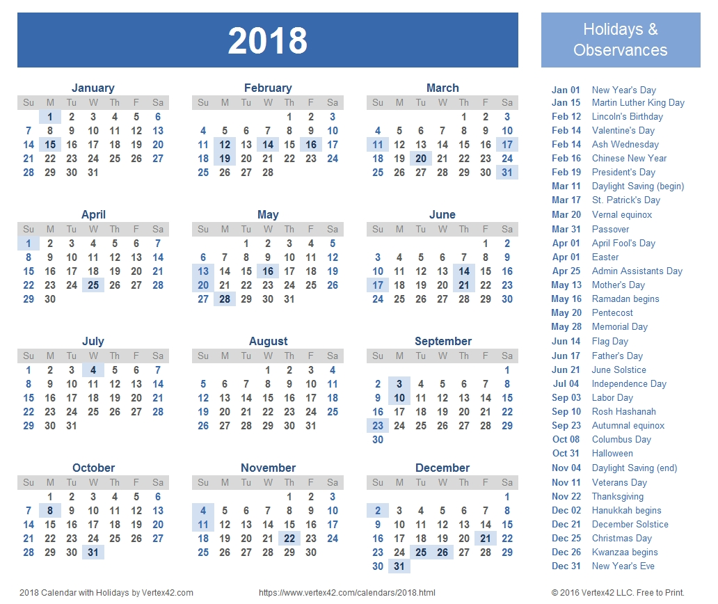 2018 Calendar Templates, Images And Pdfs-81/2 X 11 Printable Monthly Calendar 2020