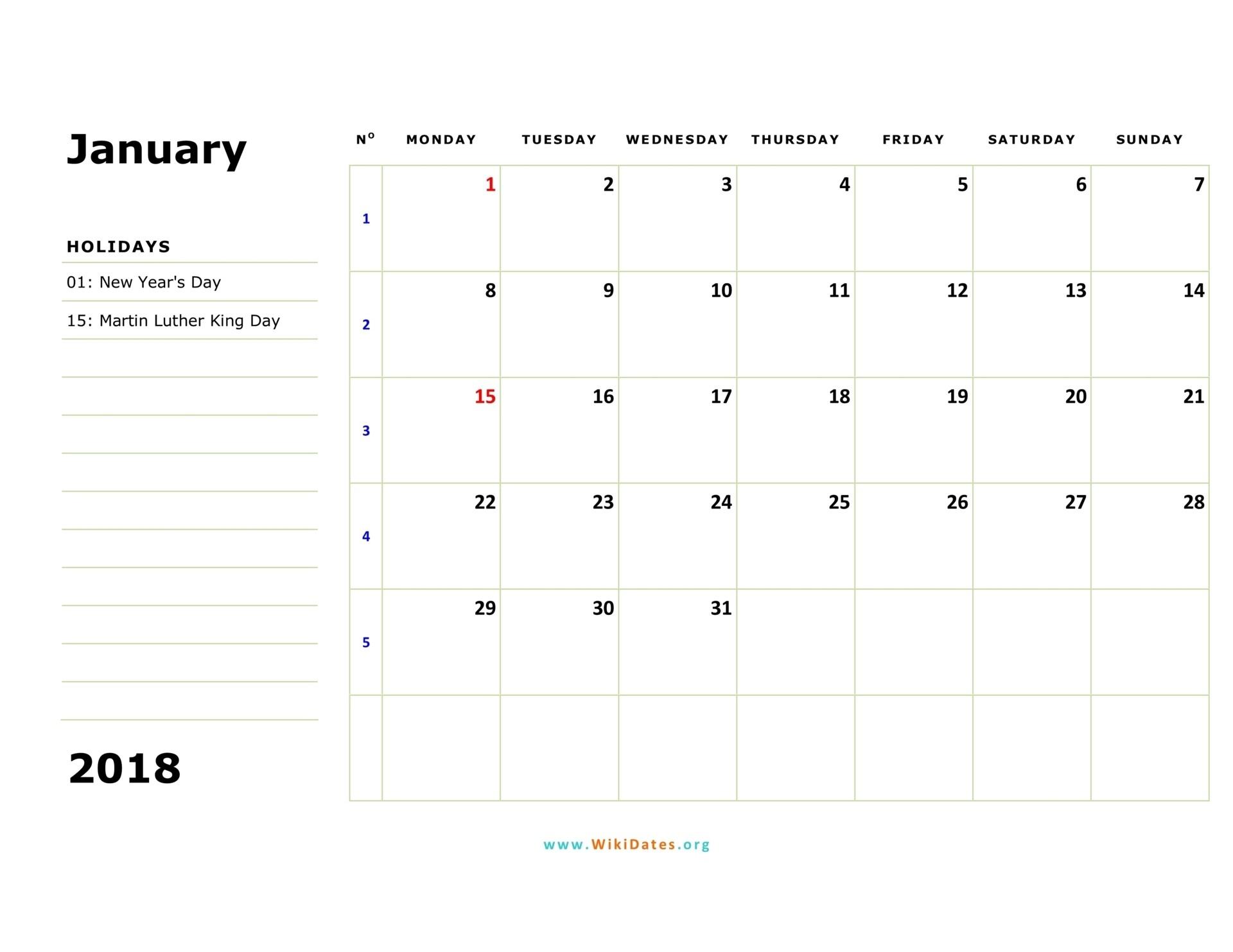 2018 Calendar | Wikidates-Monthly Calendar Monday Start Week