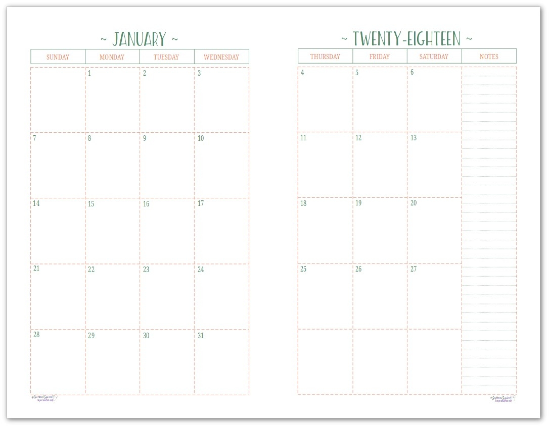2018 Monthly Planner | Free Printable Calendar, 2 Page-Free Printable Two Page Monthly Calendar