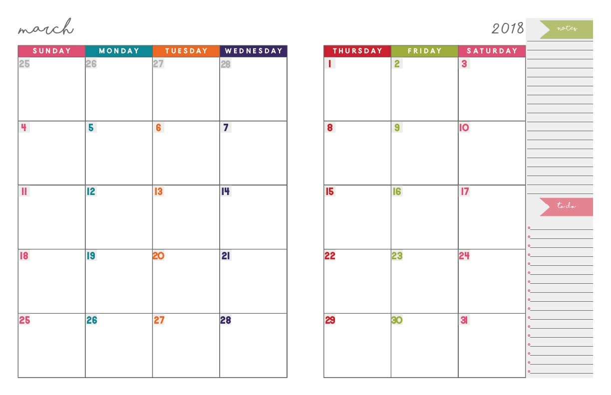 2018 Monthly Planner | Free Printable Calendar, 2-Page Spread-Monthly Calendar Printable 2 Page