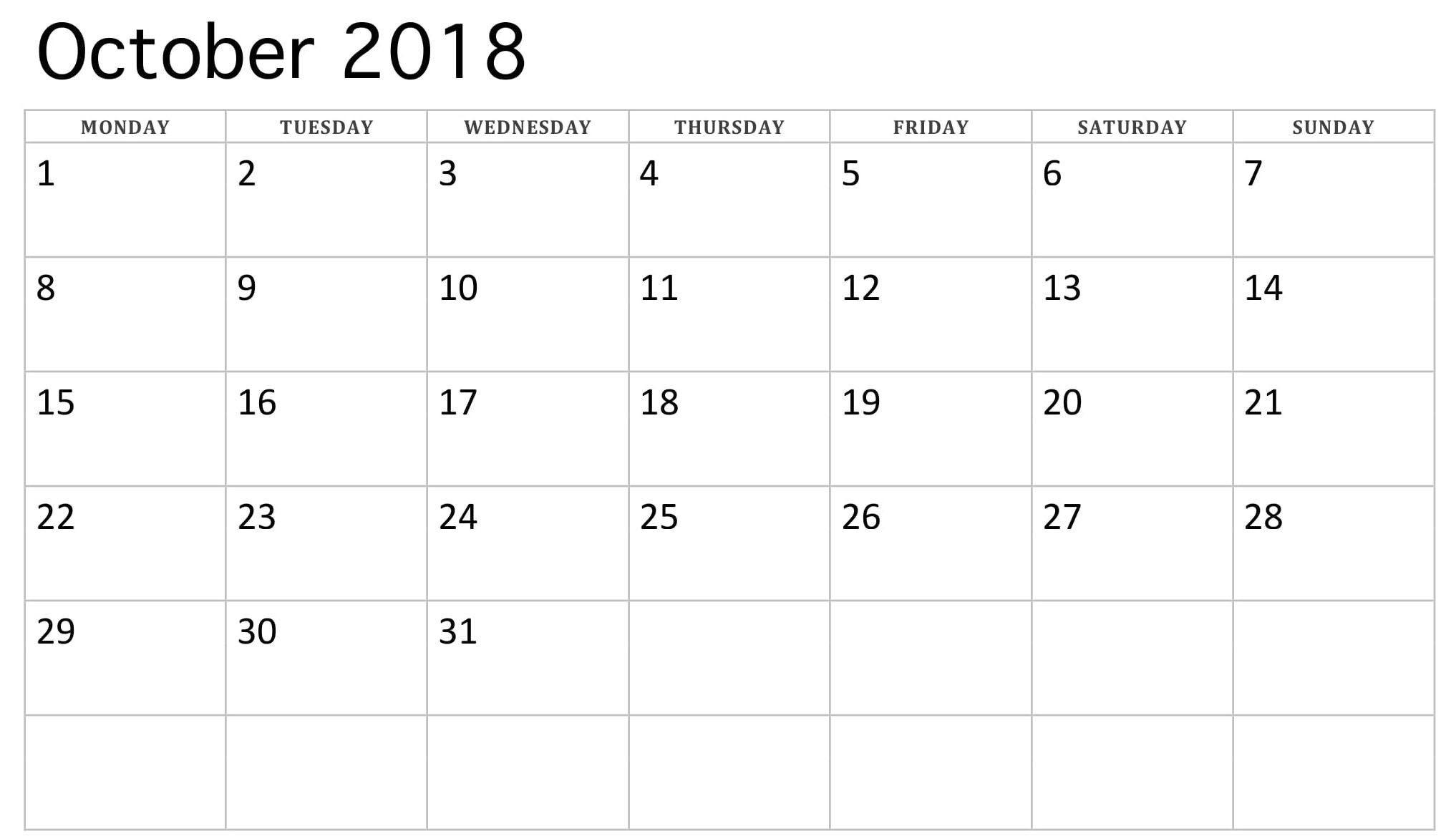 2018 October Monday Starting Calendar | 2018 Calendars-Monthly Calendar Starts On Monday