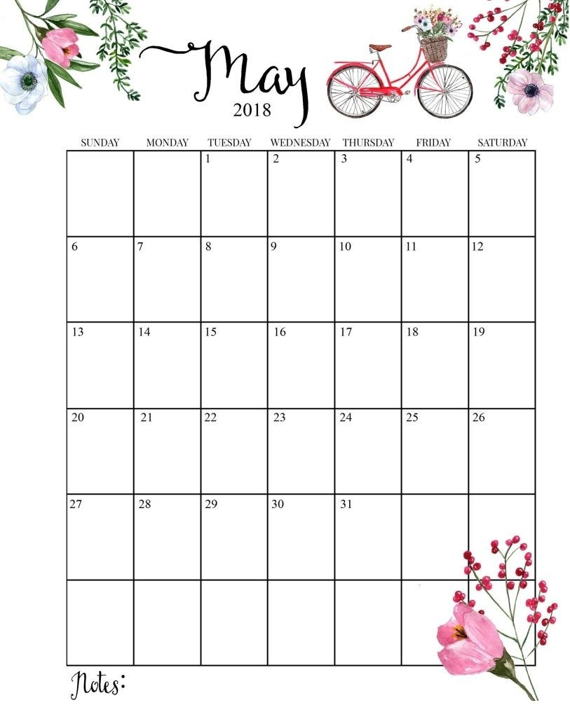 2018 Printable Monthly May Calendar | Calendars & Notebooks-Monthly Calendar Print Out For Notebooks