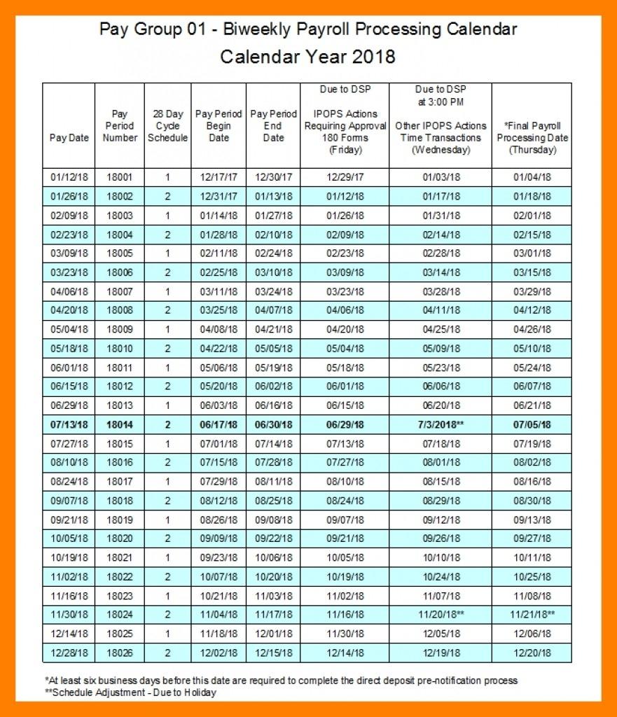 2018 Semi Monthly Payroll Calendar Template | Payroll Calendars-Bi Weekly Pay Schedule 2020 Template