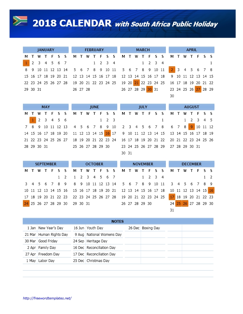 2018 South Africa Public Holidays Calendar-Public Holidays South Africa