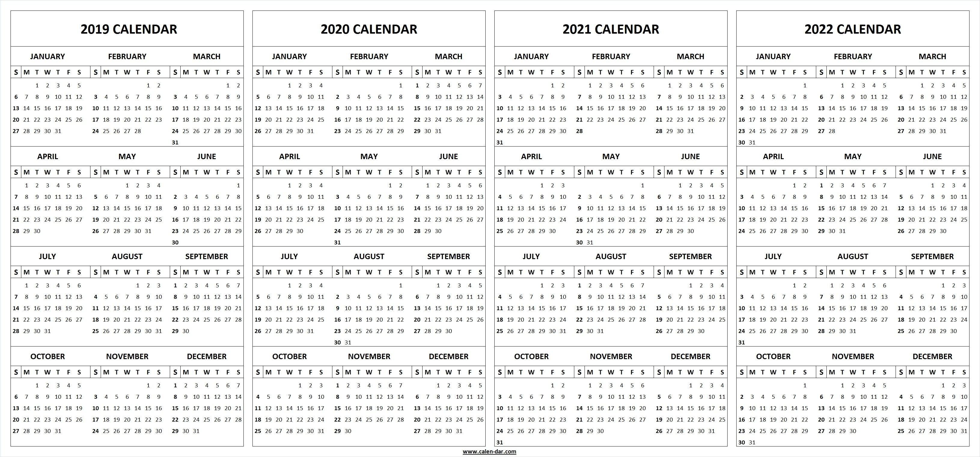 2019 2020 2021 2022 Calendar Blank Template | Calendar-Microsoft Calendar Templates 2020
