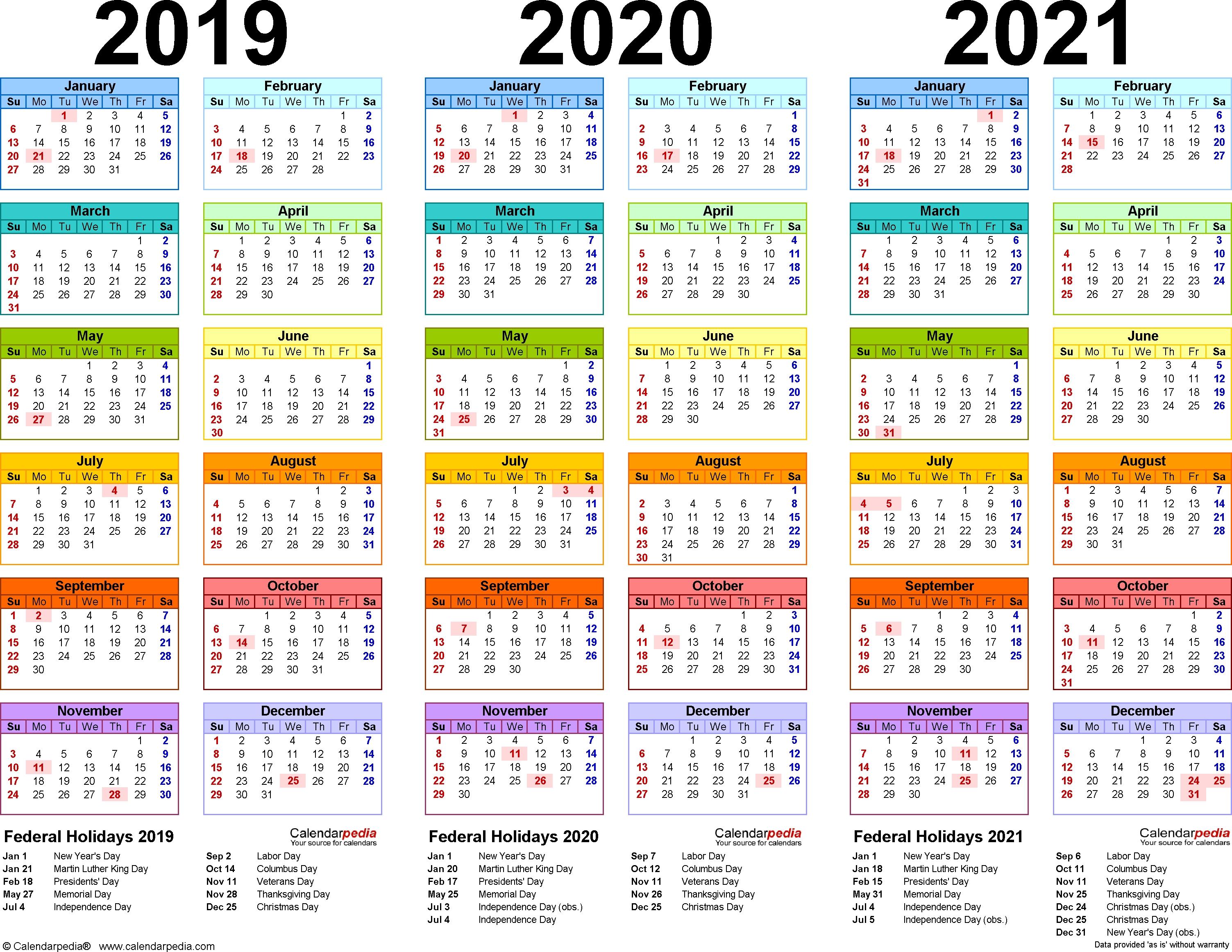 2019/2020/2021 Calendar - 4 Three-Year Printable Pdf Calendars-January 2020 Calendar Mahalaxmi