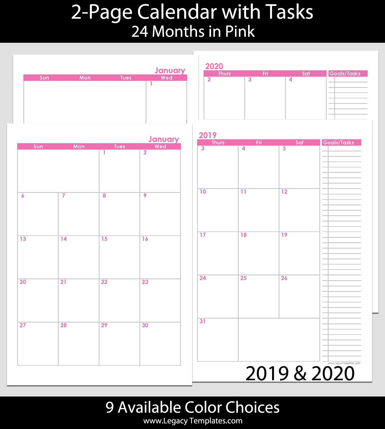 2019 & 2020 24-Months 2-Page Calendar – A5 | Legacy Templates-2 Page Monthly Calendar Printable 2020