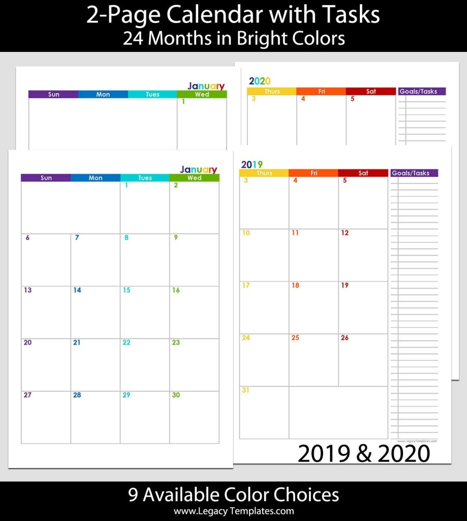 2019 & 2020 24-Months 2-Page Calendar – A5 | Legacy Templates-2020 Monthly 2 Page Calendar