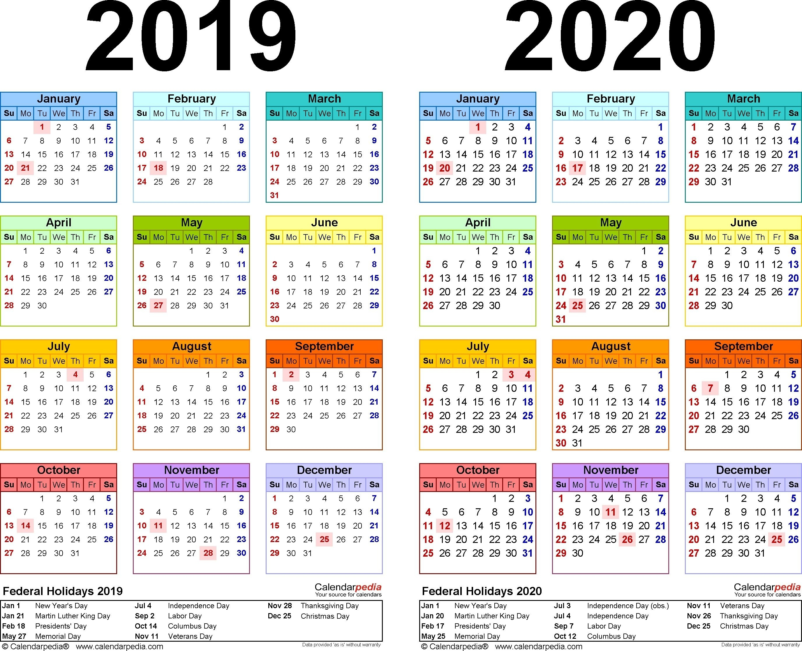 2019-2020 Calendar - Free Printable Two-Year Excel Calendars-Free 2 Page Calendar Templates 2020