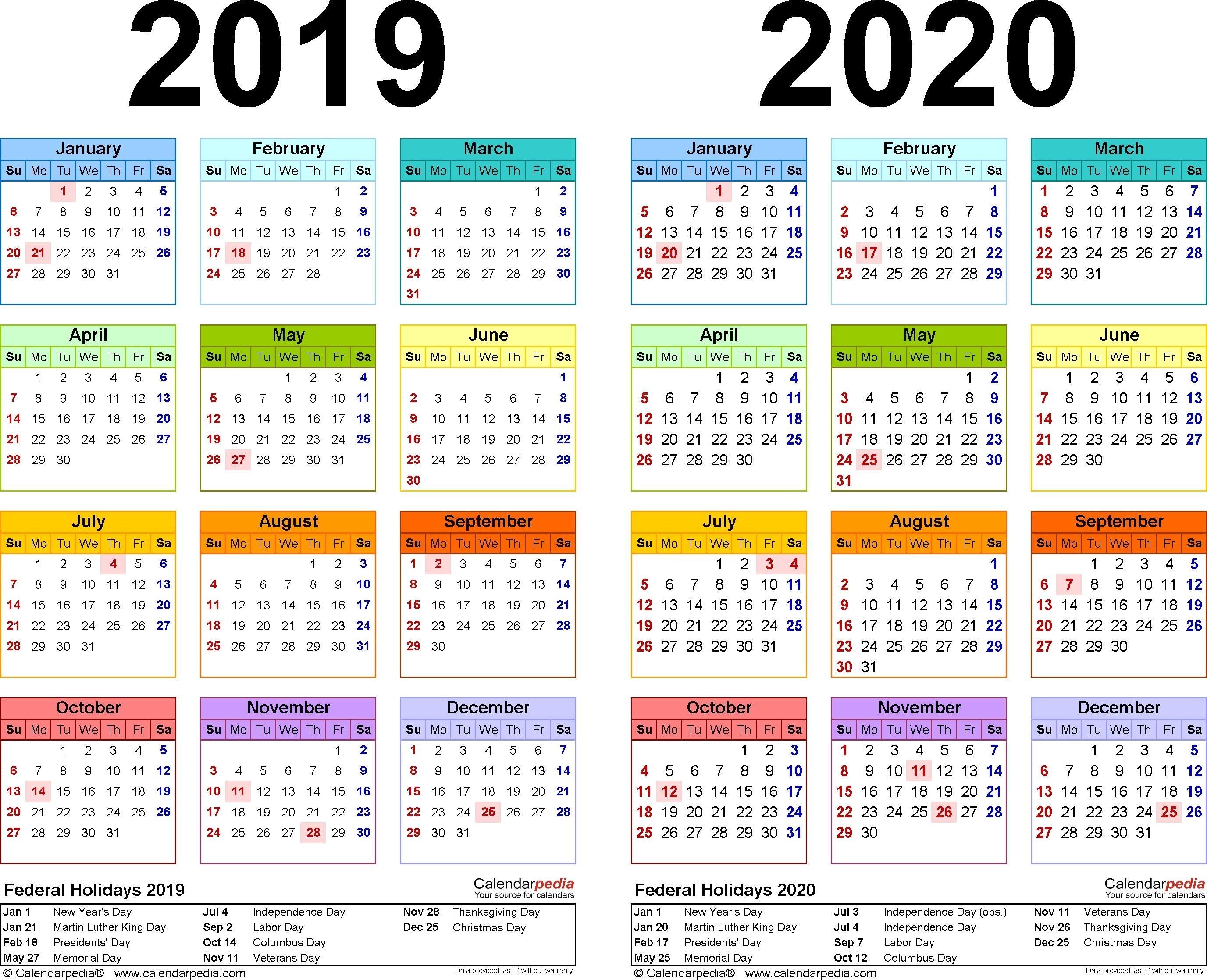 2019-2020 Calendar - Free Printable Two-Year Excel Calendars-Printable 2020 Holidays India