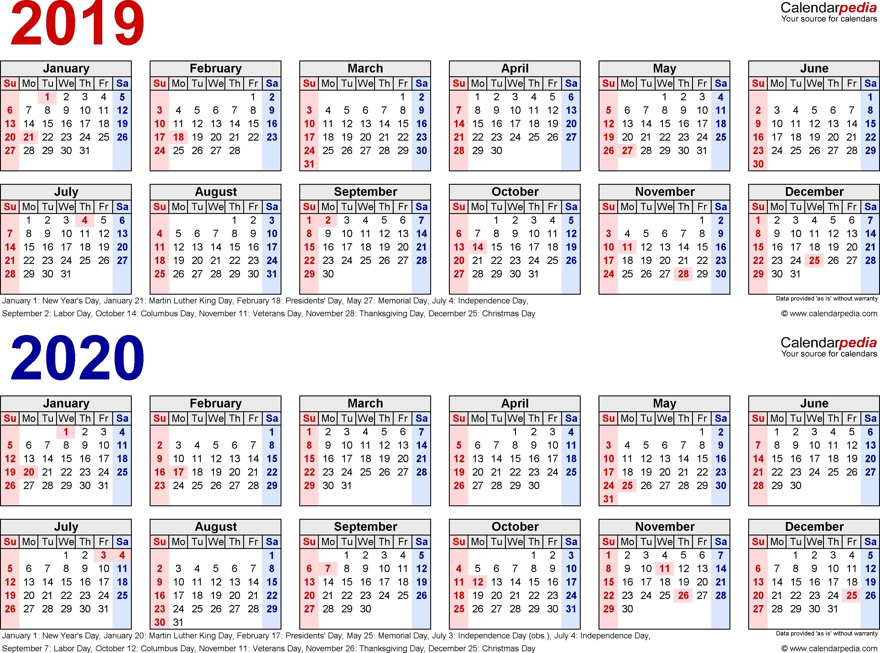 2019-2020 Calendar - Free Printable Two-Year Pdf Calendars-2 Page Monthly Calendar 2020 Printable Free