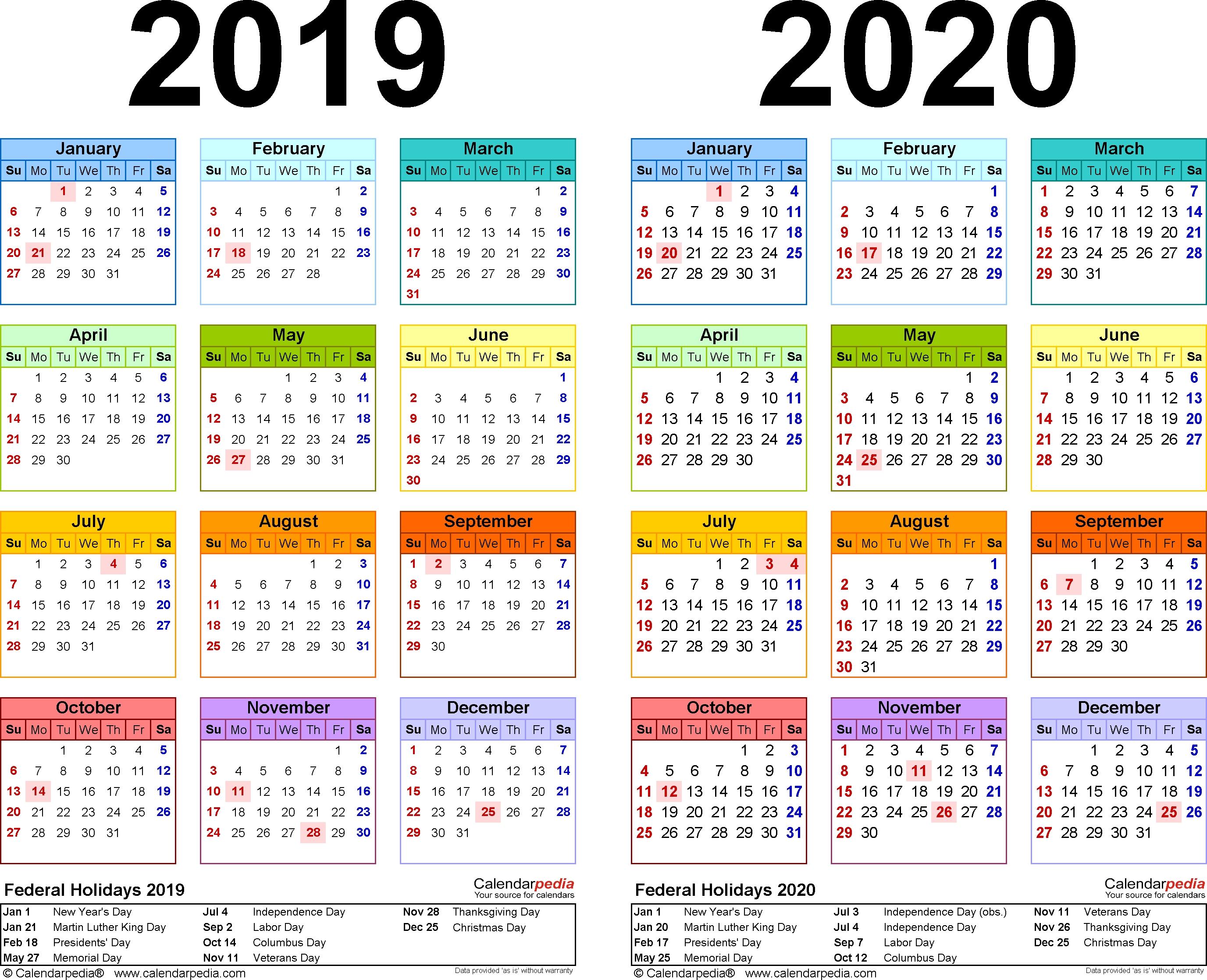 2019-2020 Calendar - Free Printable Two-Year Pdf Calendars-Template Of 2020 August Thru Dec Calendar