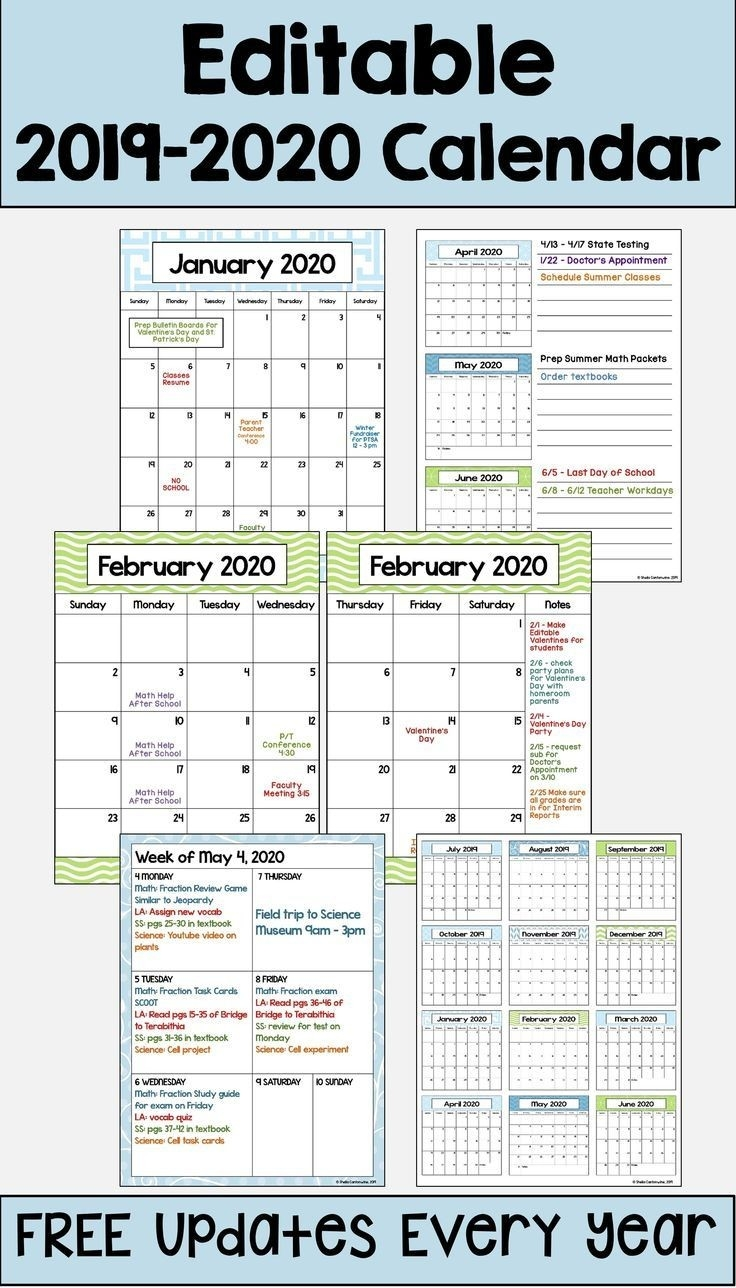 2019-2020 Calendar Printable And Editable With Free Updates-Calendar 2020 Template For Summer Camp Schedule
